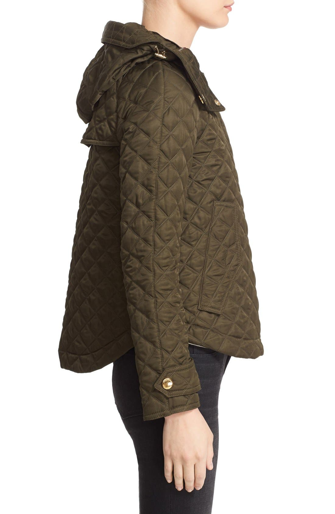 'Leightonbury' Quilted Hooded Jacket,                             Alternate thumbnail 6, color,                             Dark Olive