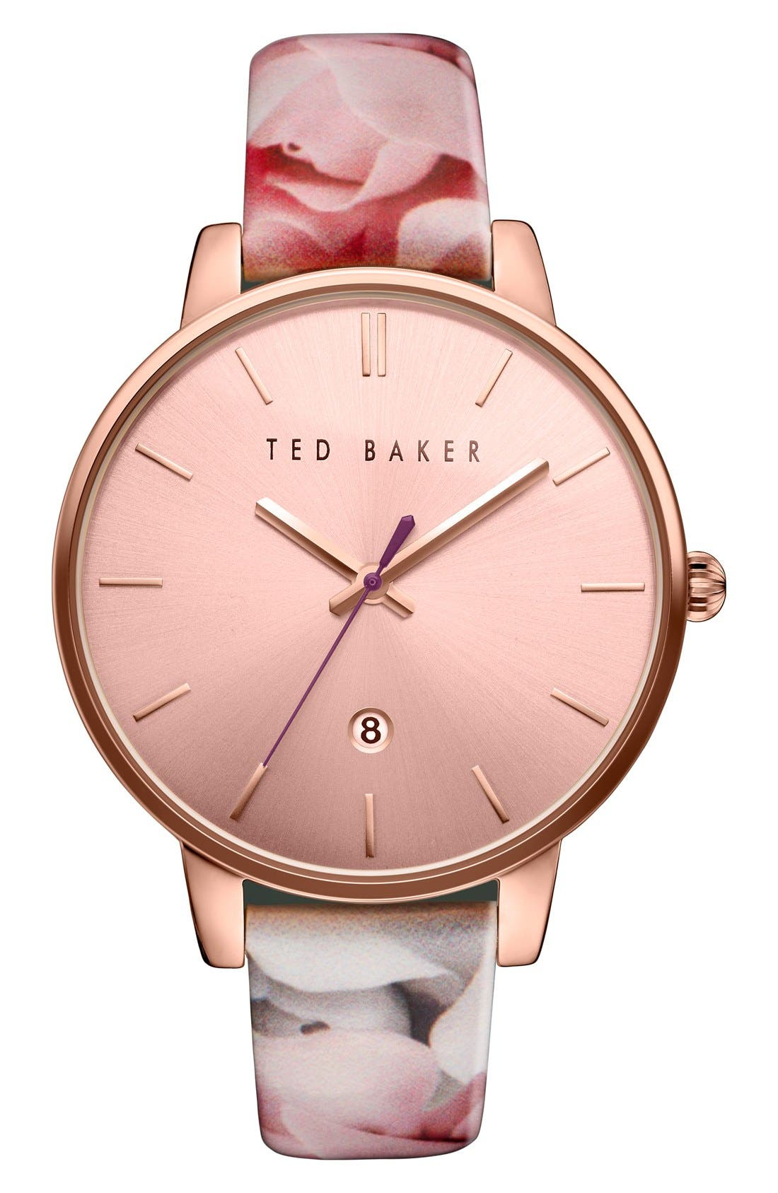 Leather Strap Watch, 40mm,                             Main thumbnail 1, color,                             White Floral/ Pink