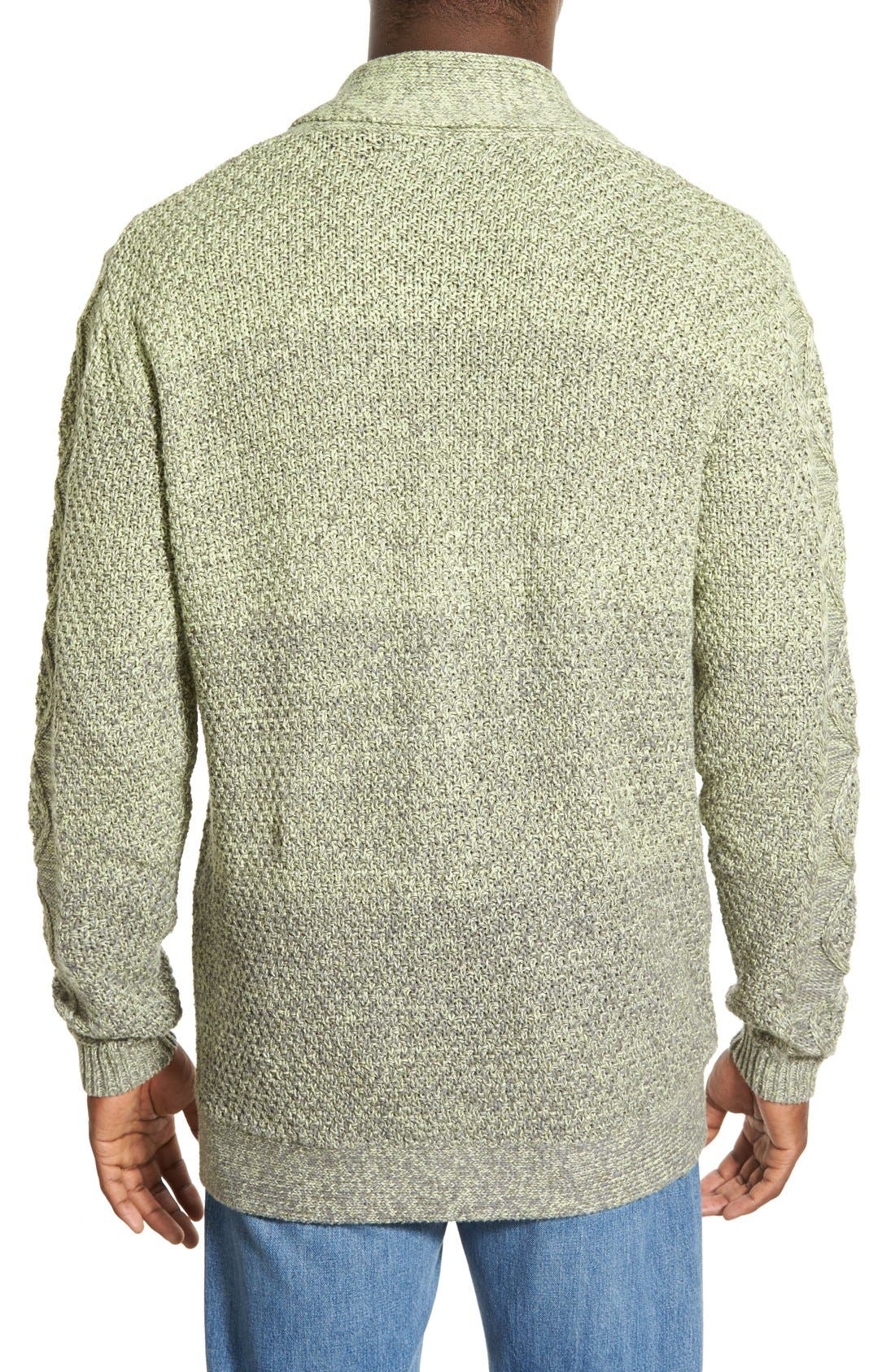 'Boston' Colorblock Mixed Knit Shawl Collar Cardigan,                             Alternate thumbnail 2, color,                             Olive