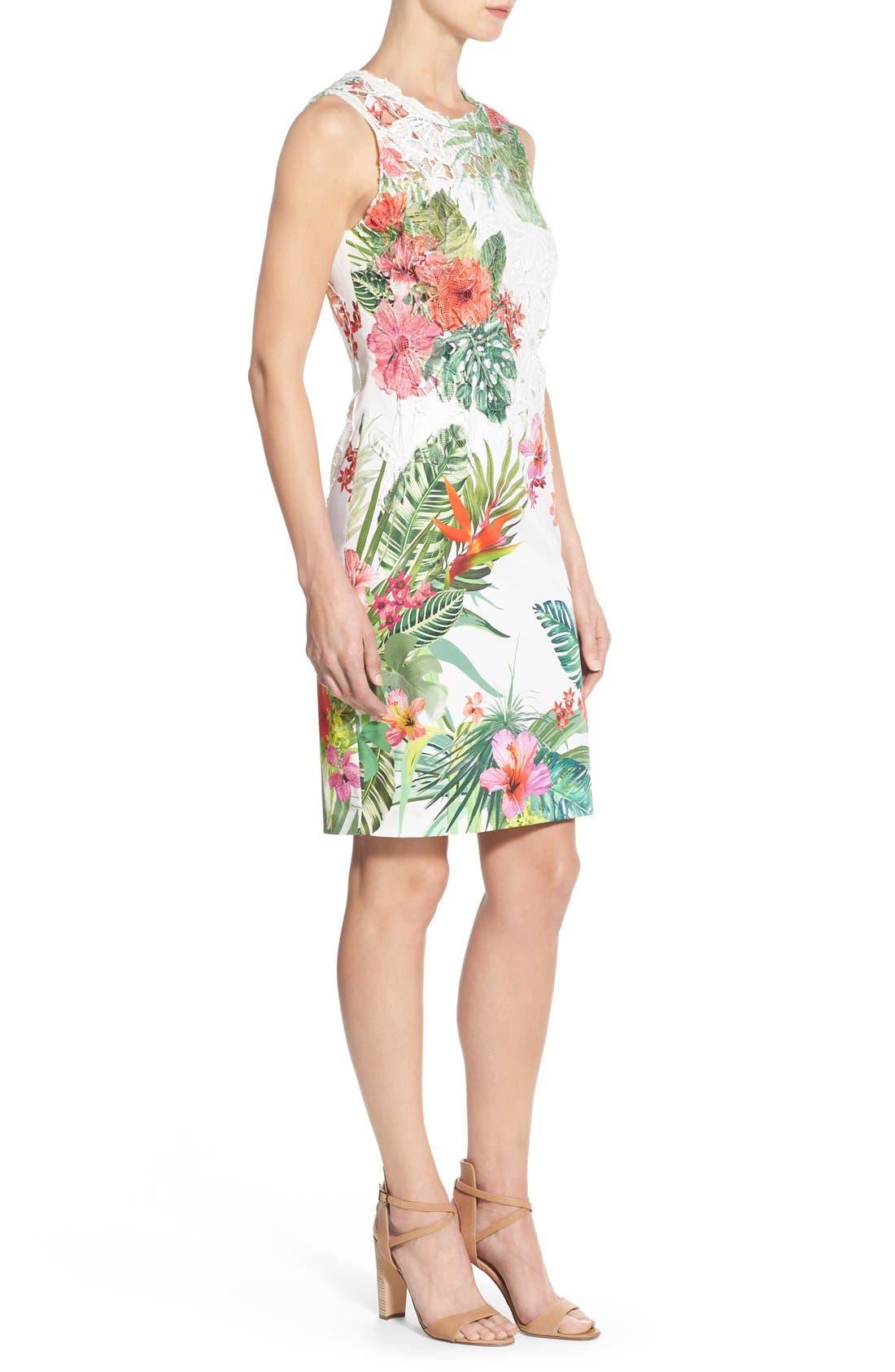 Alternate Image 3  - Elie Tahari 'Weslee' Tropical Print Lace Overlay Sheath Dress