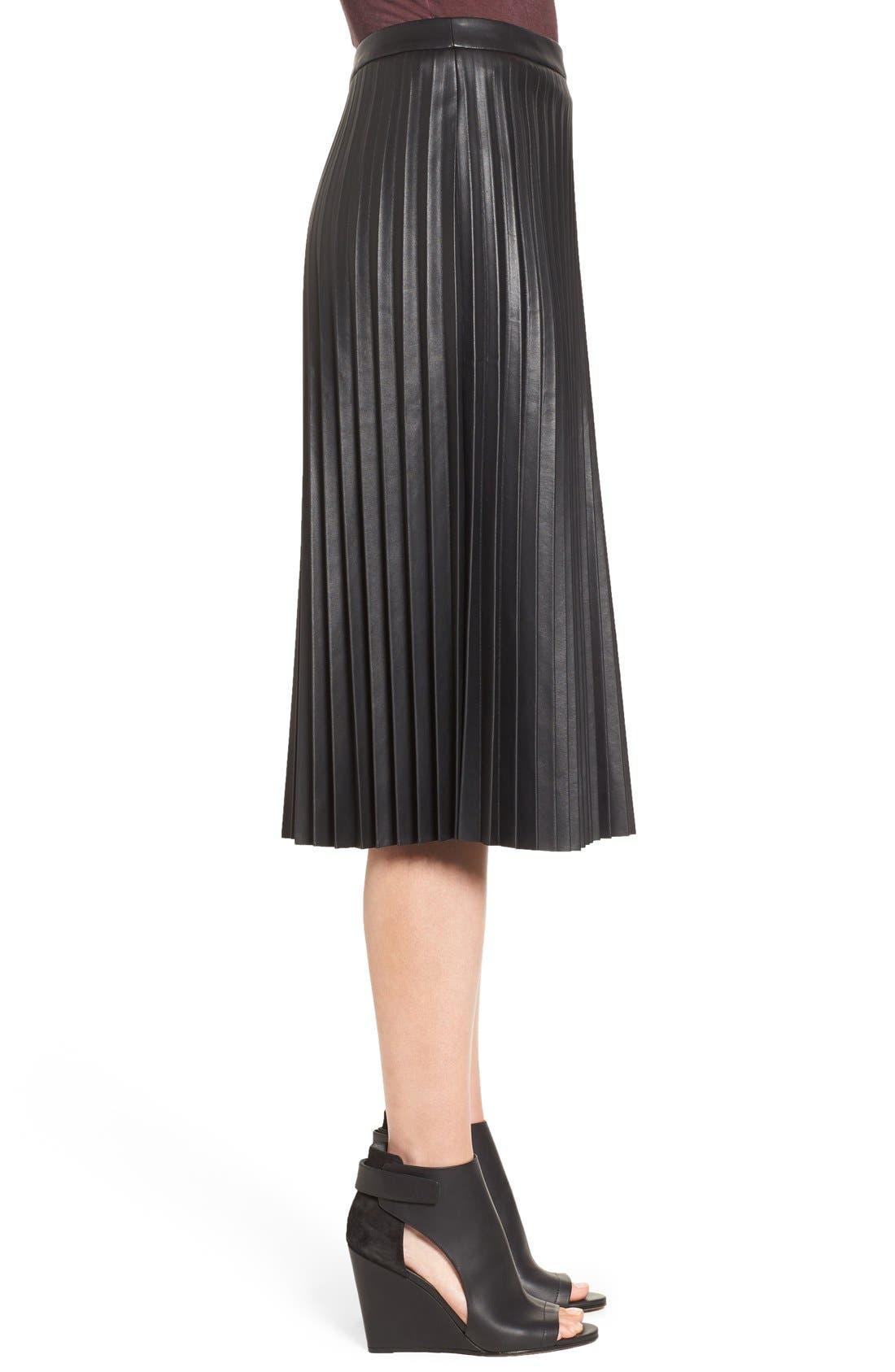 Faux Leather Pleat Skirt,                             Alternate thumbnail 3, color,                             Black