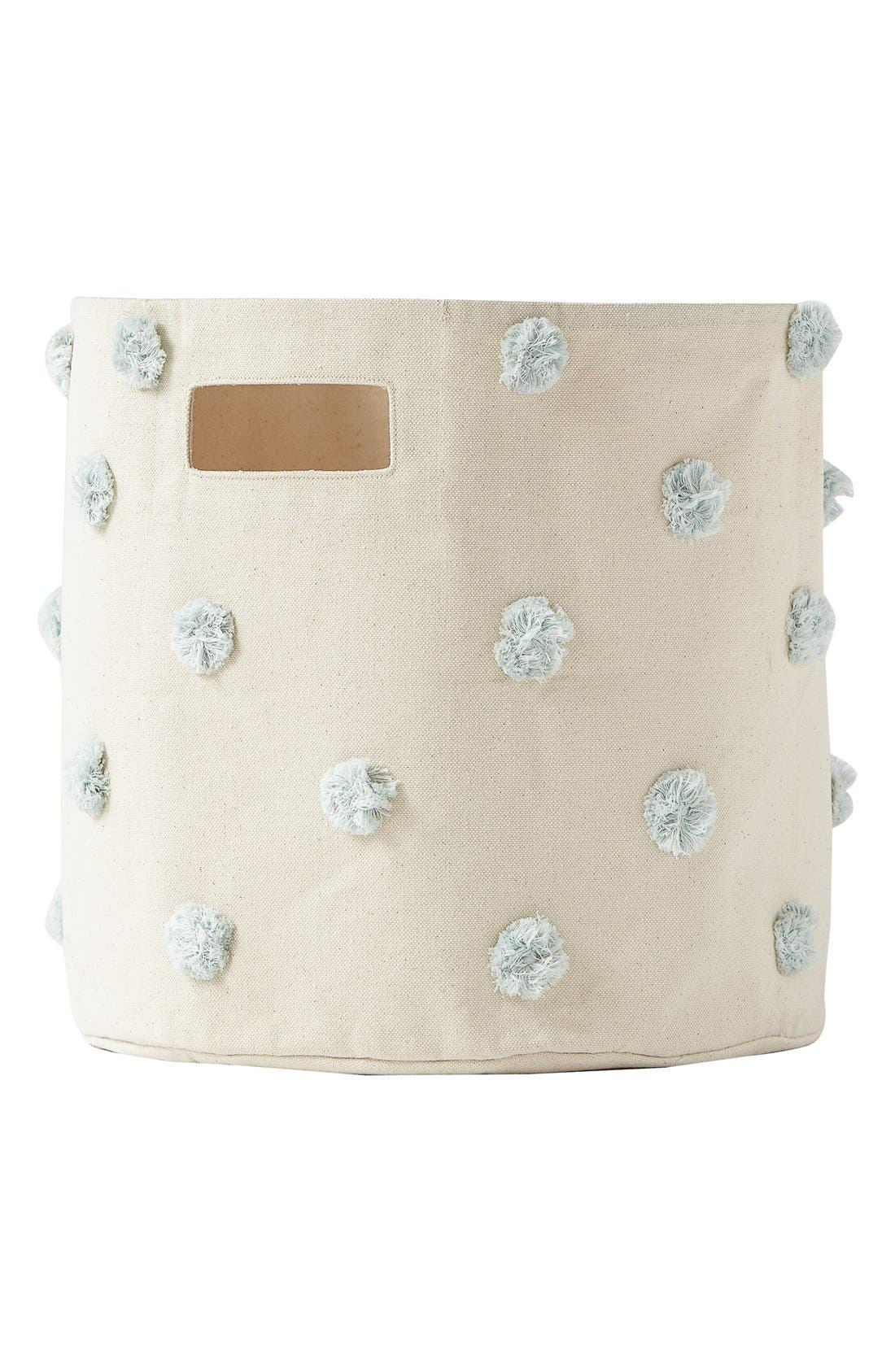 Pompom Canvas Bin,                         Main,                         color, Blue