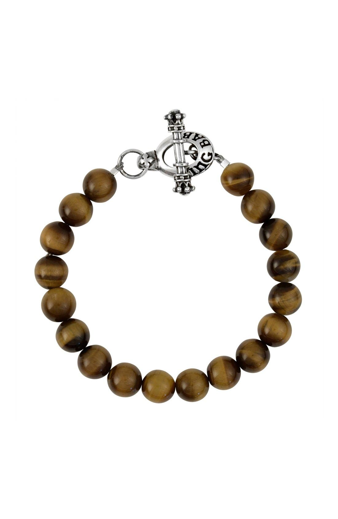 Tiger's Eye Bead Bracelet,                             Main thumbnail 1, color,                             Silver/ Brown