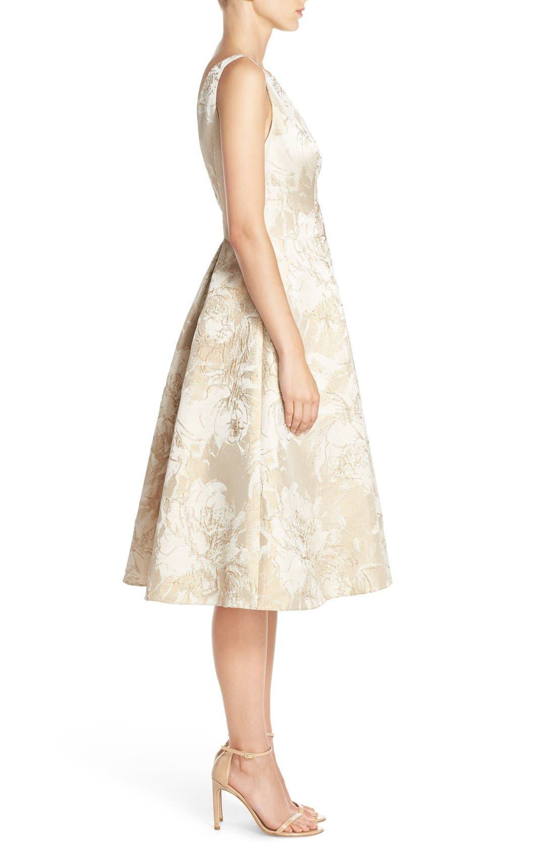 Alternate Image 3  - Aidan Mattox Floral Metallic Jacquard Fit & Flare Dress
