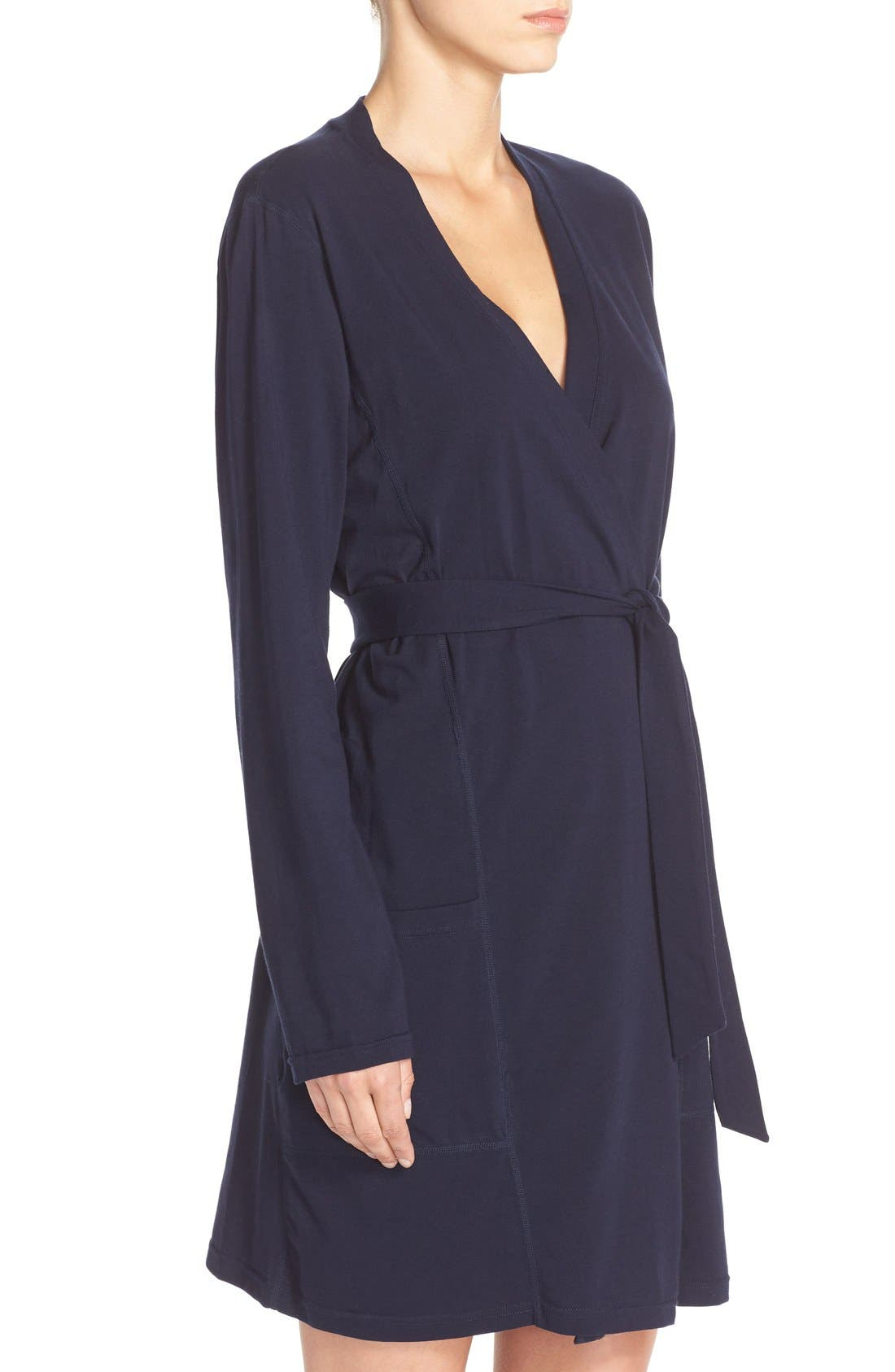 Stretch Cotton Robe,                             Alternate thumbnail 3, color,                             Peacoat
