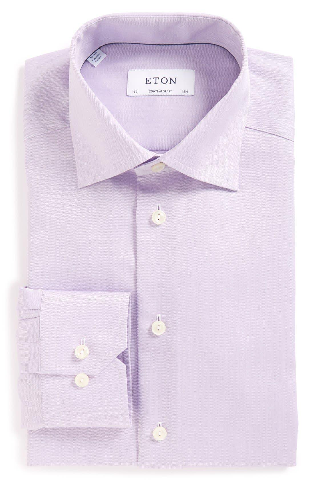 Alternate Image 1 Selected - Eton Contemporary Fit Herringbone Dress Shirt