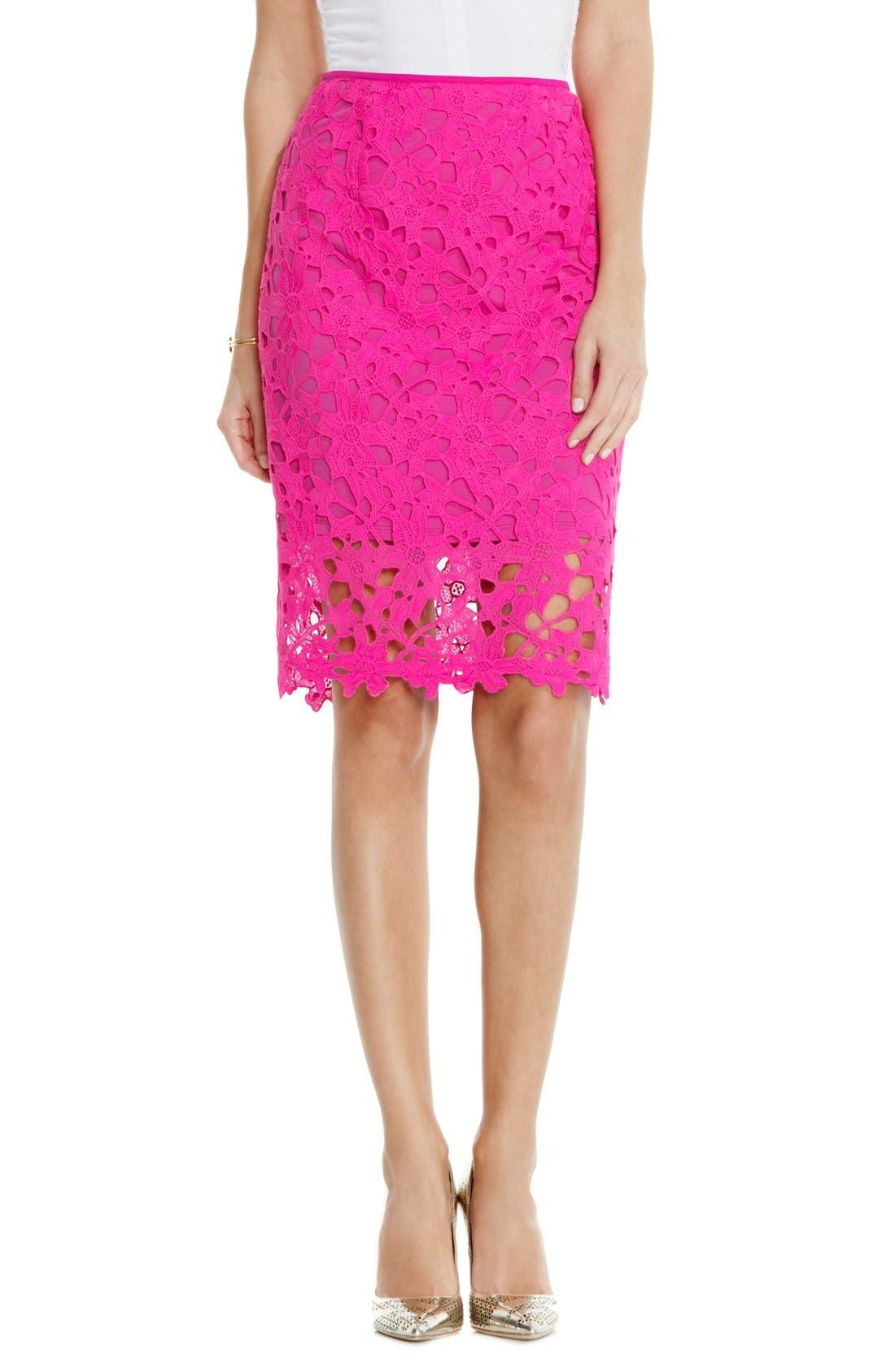 Floral Lace Pencil Skirt,                             Main thumbnail 1, color,                             Pop Pink