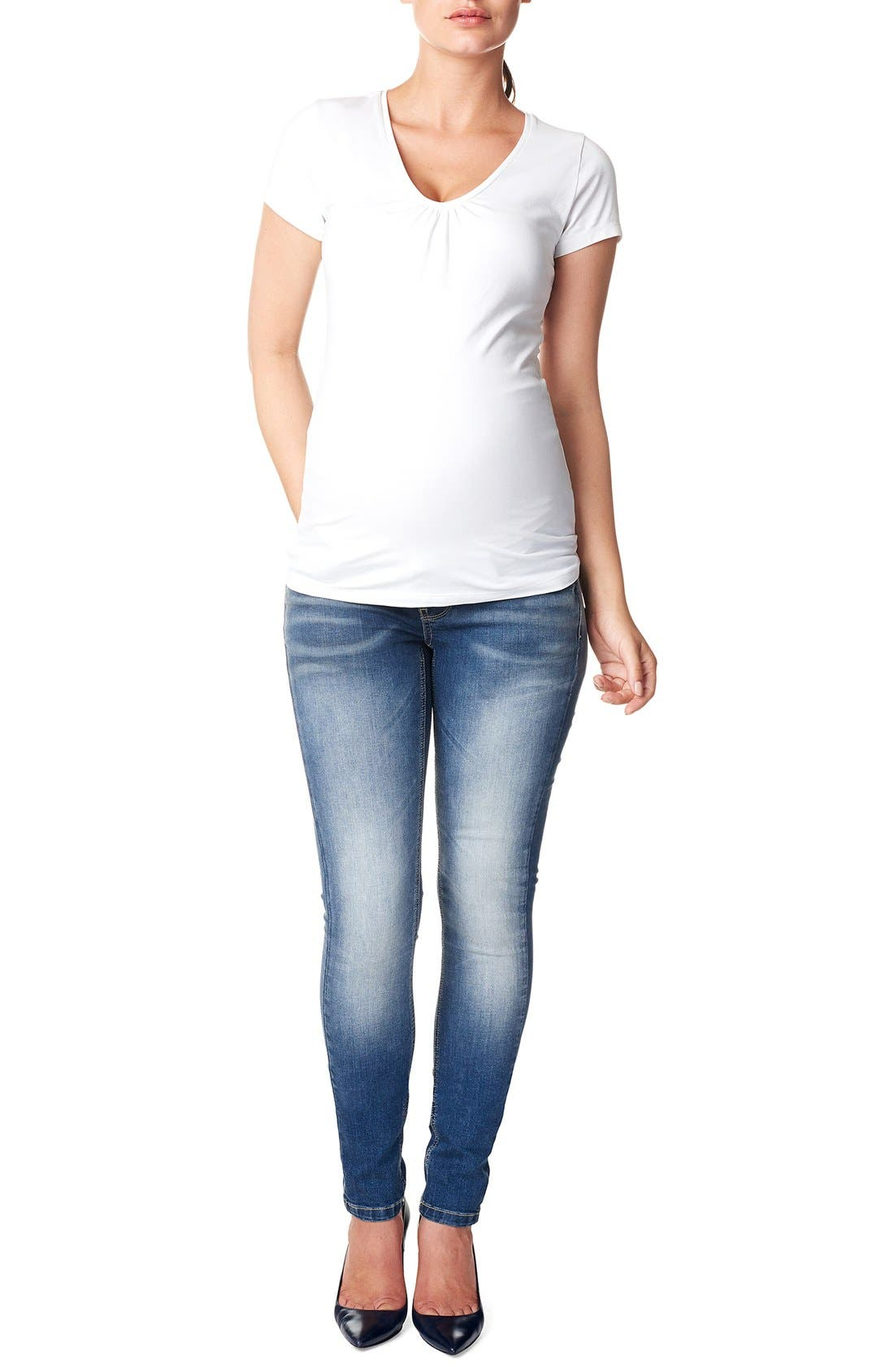 'Tara' Over the Belly Skinny Maternity Jeans,                         Main,                         color, Stone Wash