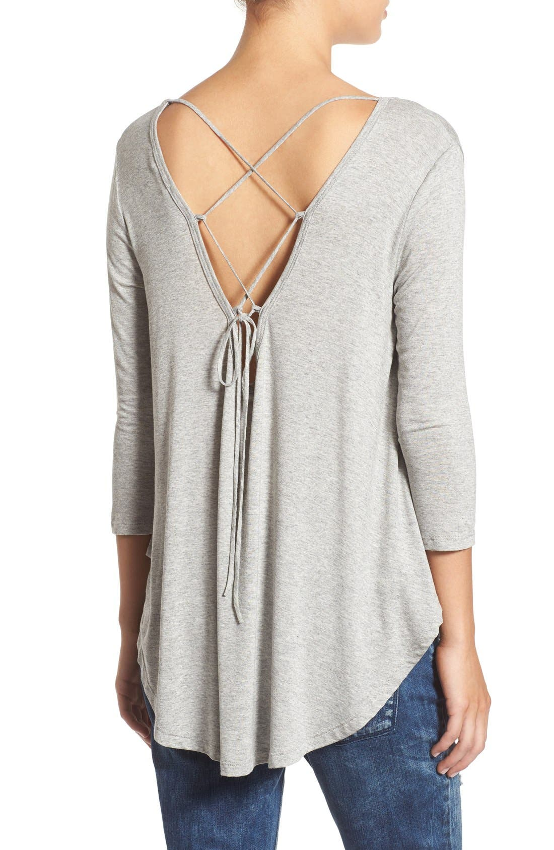 Lace-Up Back Tee,                             Main thumbnail 1, color,                             Heather Grey