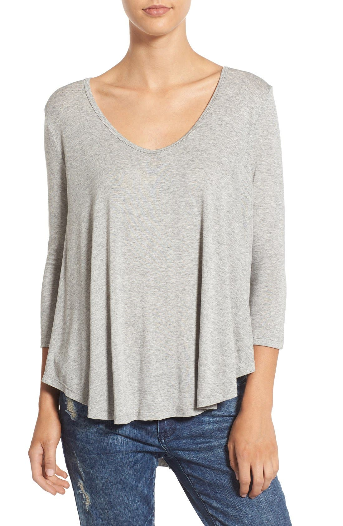Lace-Up Back Tee,                             Alternate thumbnail 2, color,                             Heather Grey