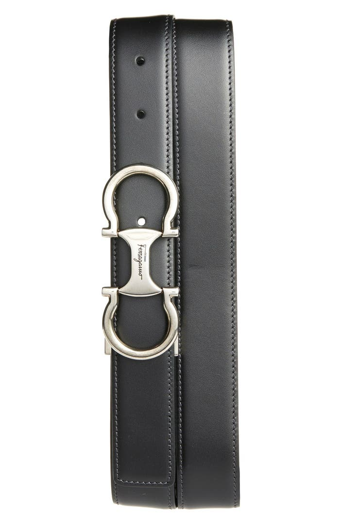 Salvatore Ferragamo 'Metrone' Reversible Leather Belt ...
