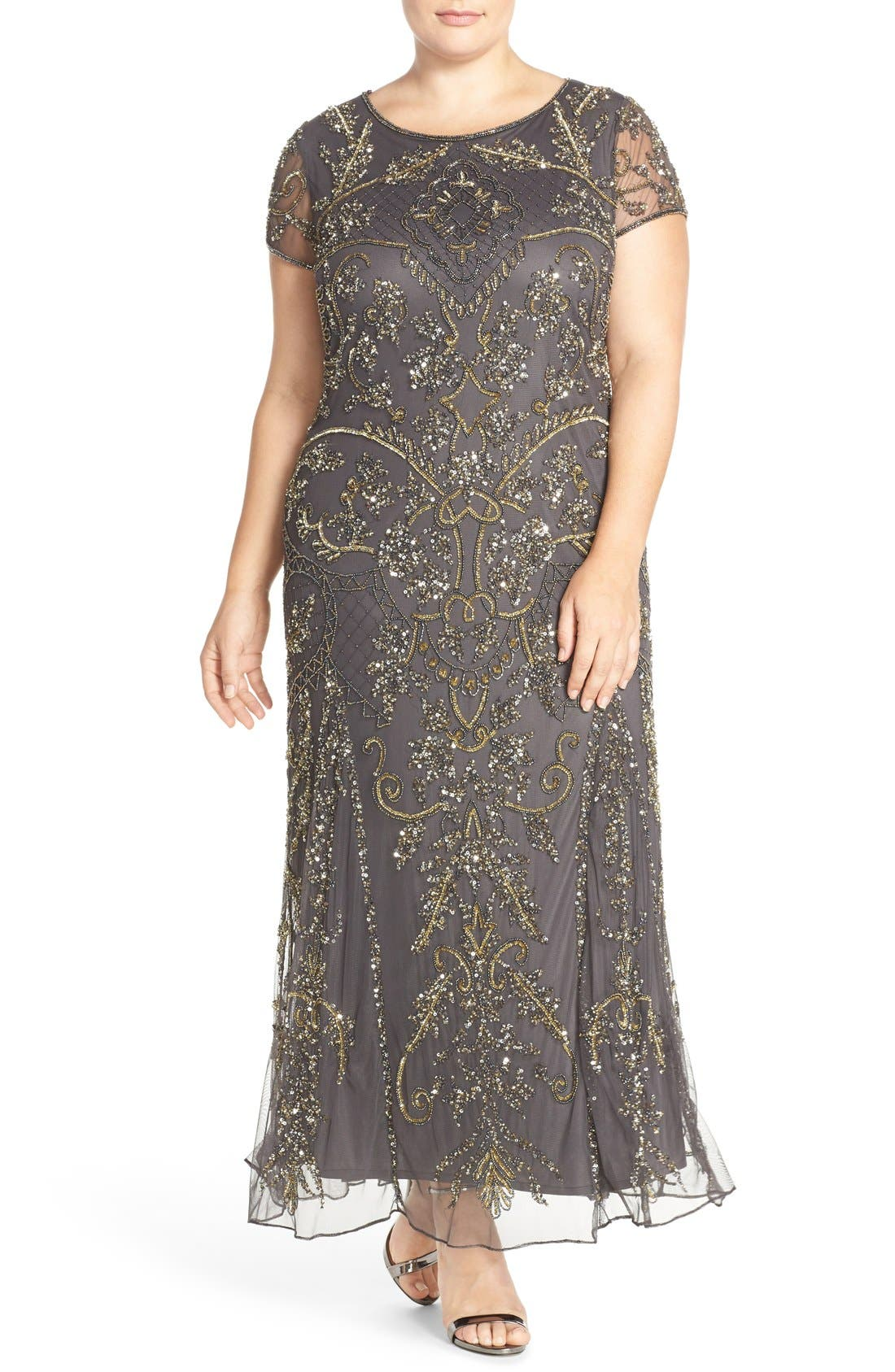 Main Image - Pisarro Nights Beaded Short Sleeve Column Gown (Plus Size)