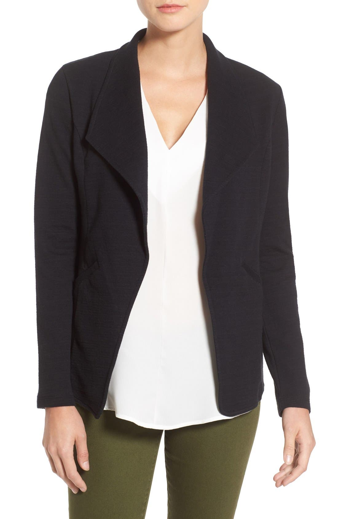 Cotton Knit Open Front Blazer,                         Main,                         color, Black- Grey Pattern