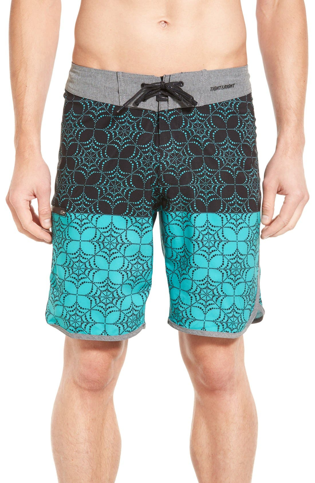 'Quest' Board Shorts,                             Main thumbnail 1, color,                             Black/ Aqua