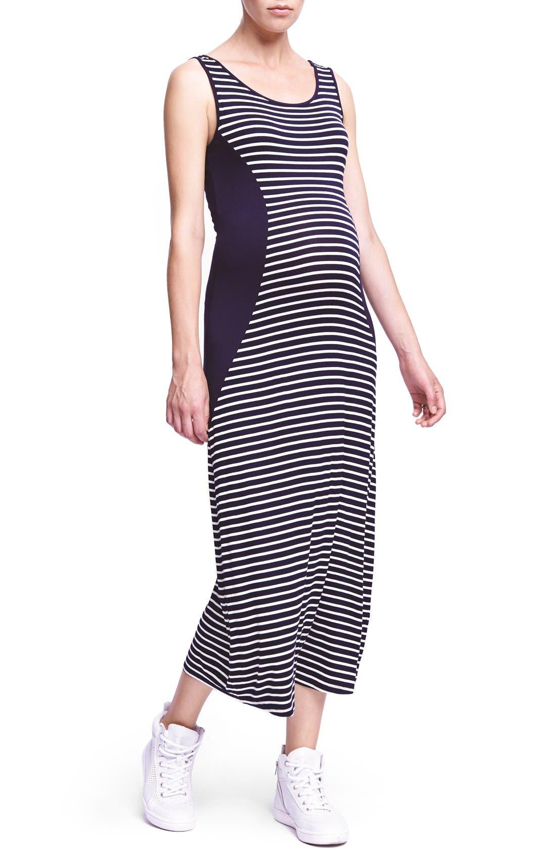 Scoop Neck Maxi Lightweight Maternity Dress,                         Main,                         color, Navy Mini Stripe