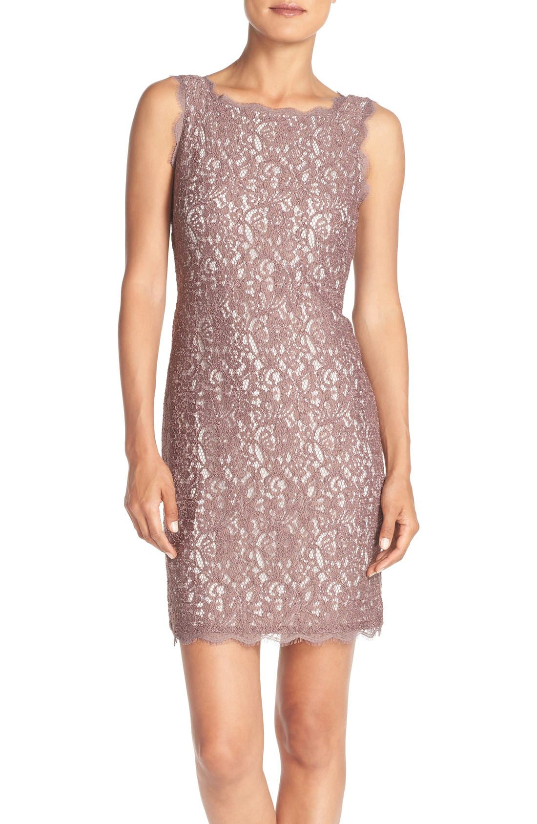 Boatneck Lace Sheath Dress,                         Main,                         color, Cappuccino/ Ivory