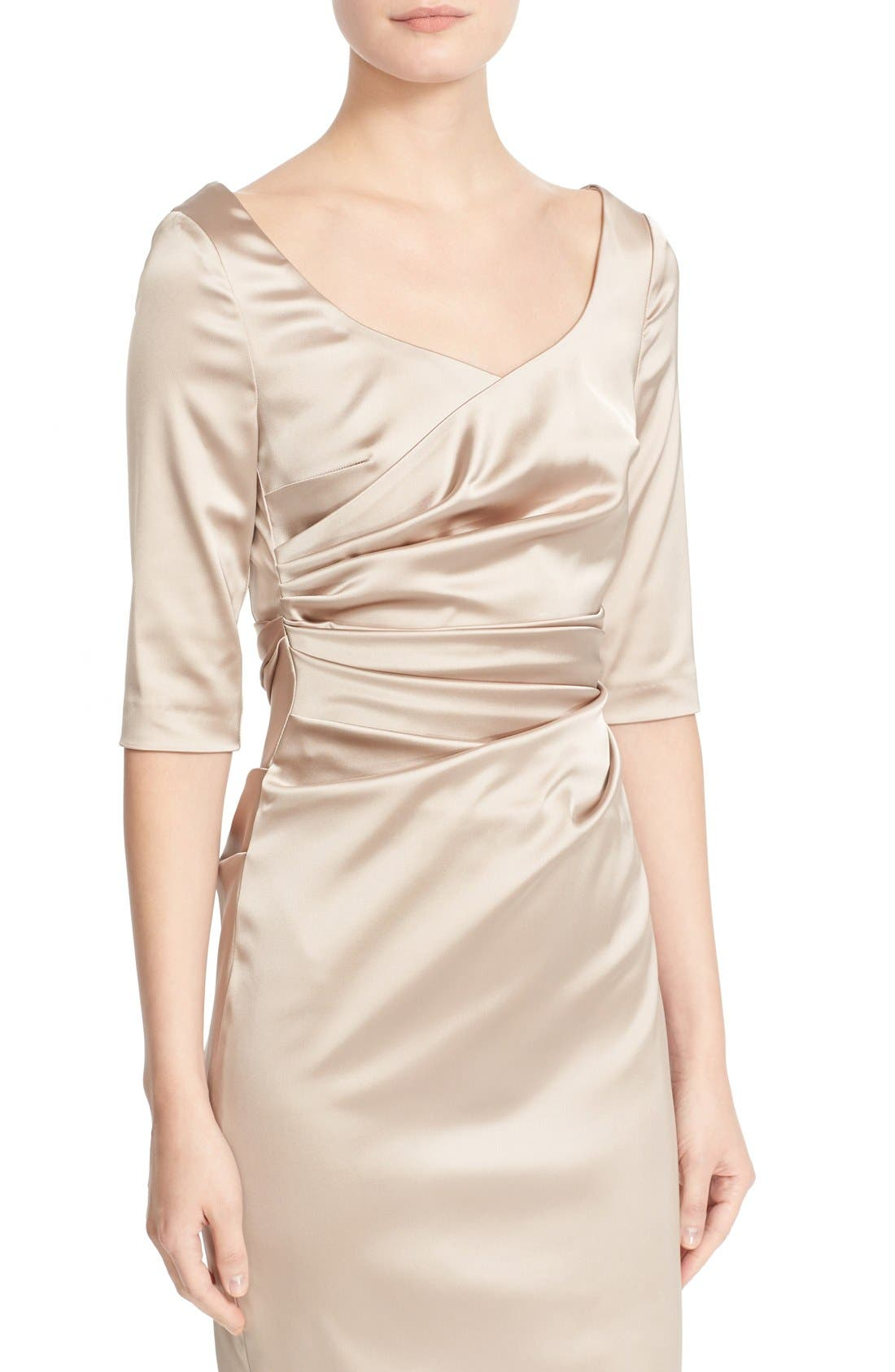 Portrait Neck Stretch Satin Sheath Dess,                             Alternate thumbnail 6, color,                             Beige