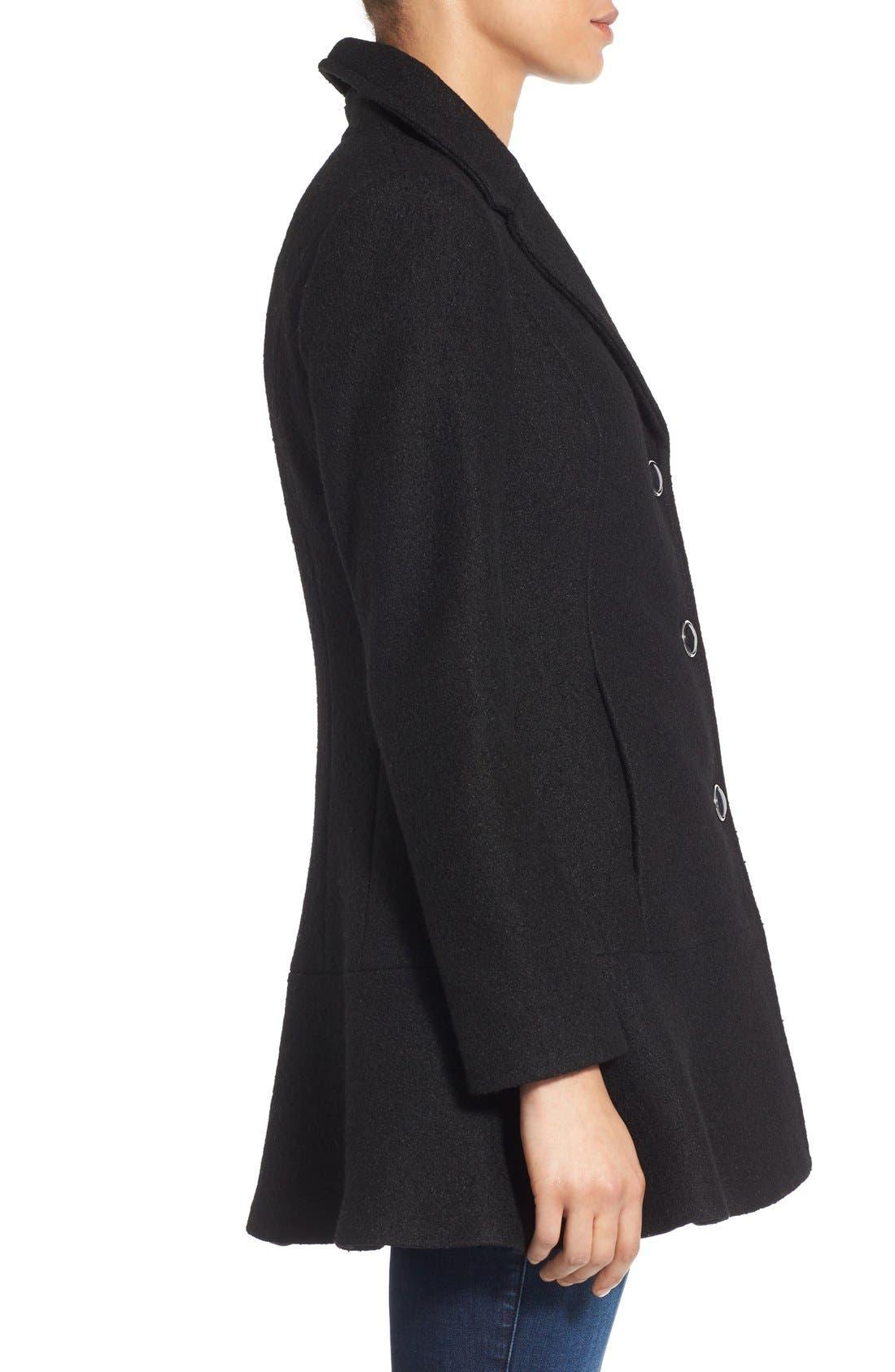 Notch Lapel Peplum Coat,                             Alternate thumbnail 3, color,                             Black