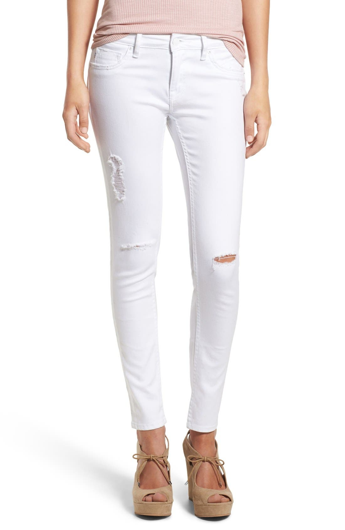 Distressed Skinny Jeans,                             Main thumbnail 1, color,                             White