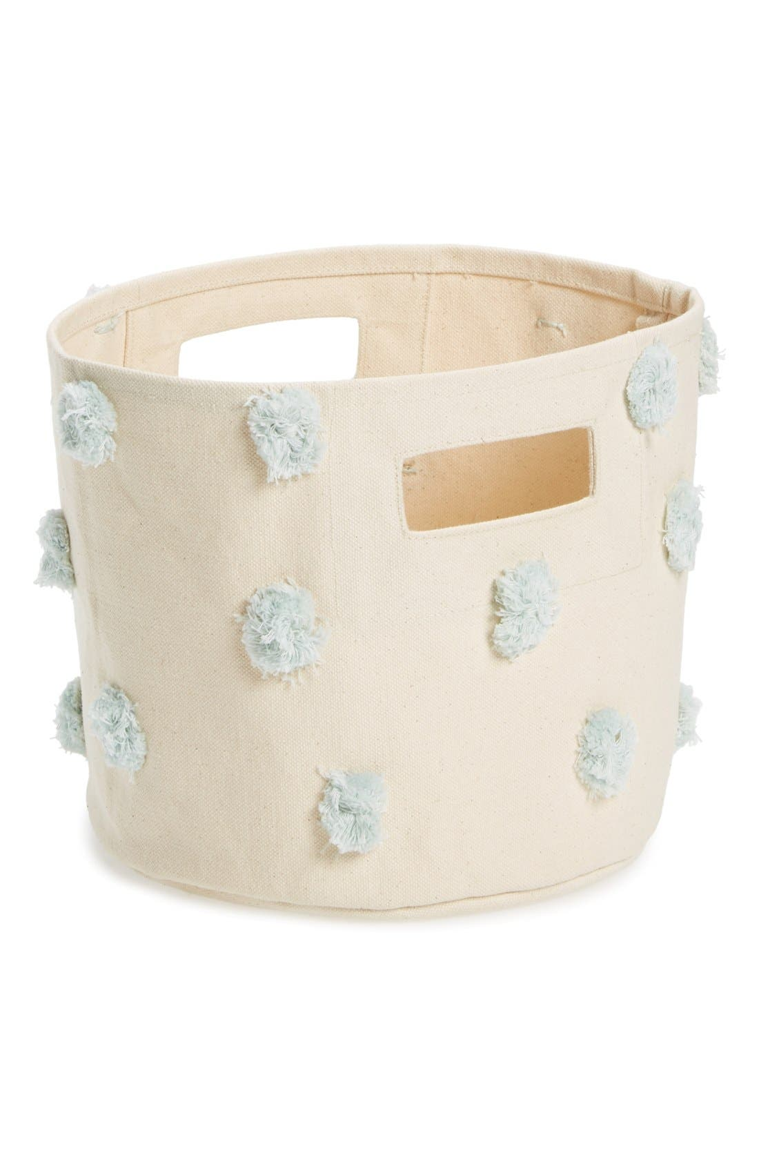 Mini Pompom Canvas Bin,                             Main thumbnail 1, color,                             Mist Blue