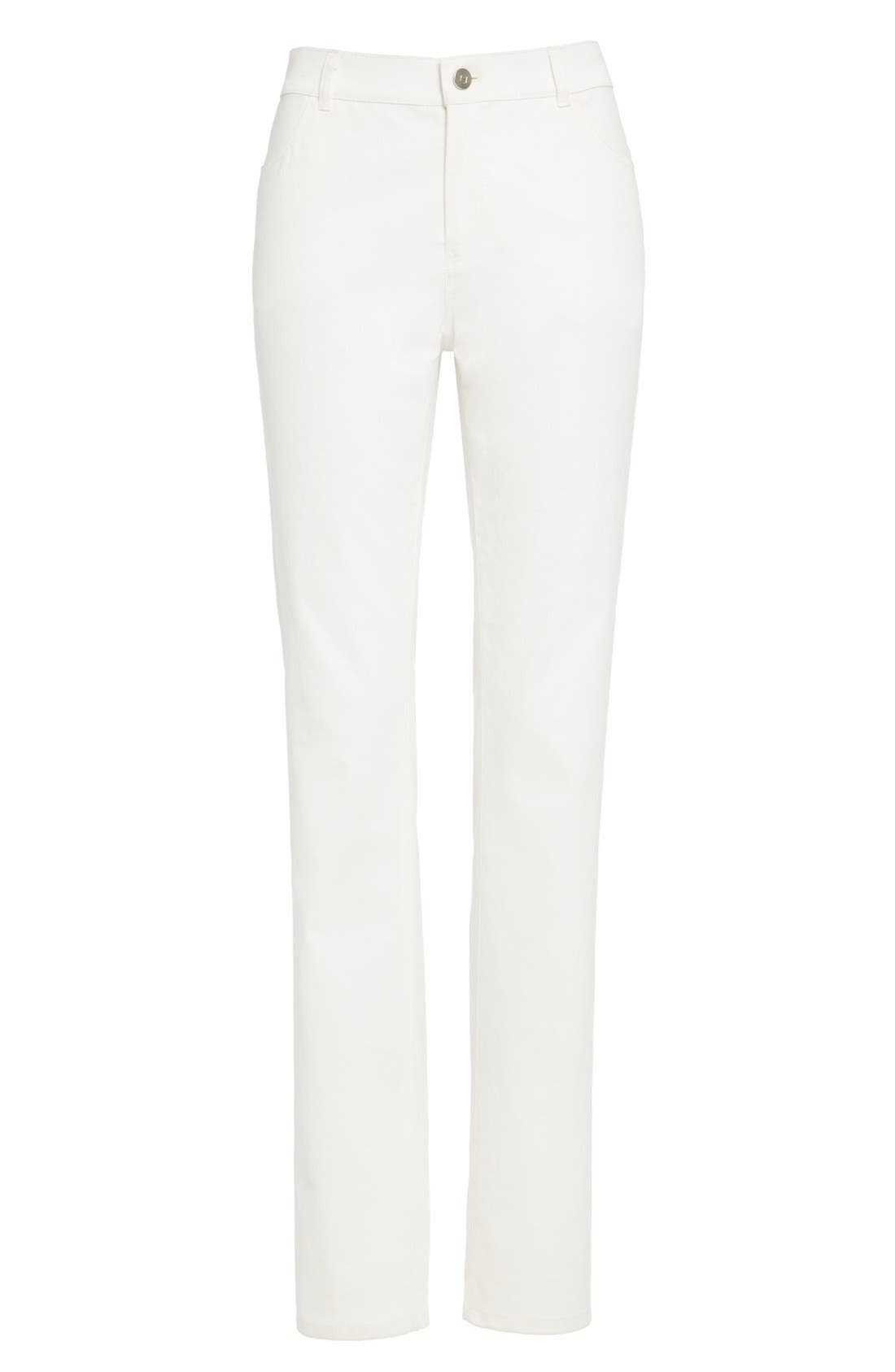 Alternate Image 8  - Lafayette 148 New York Waxed Denim Slim Leg Jeans (Regular & Petite)