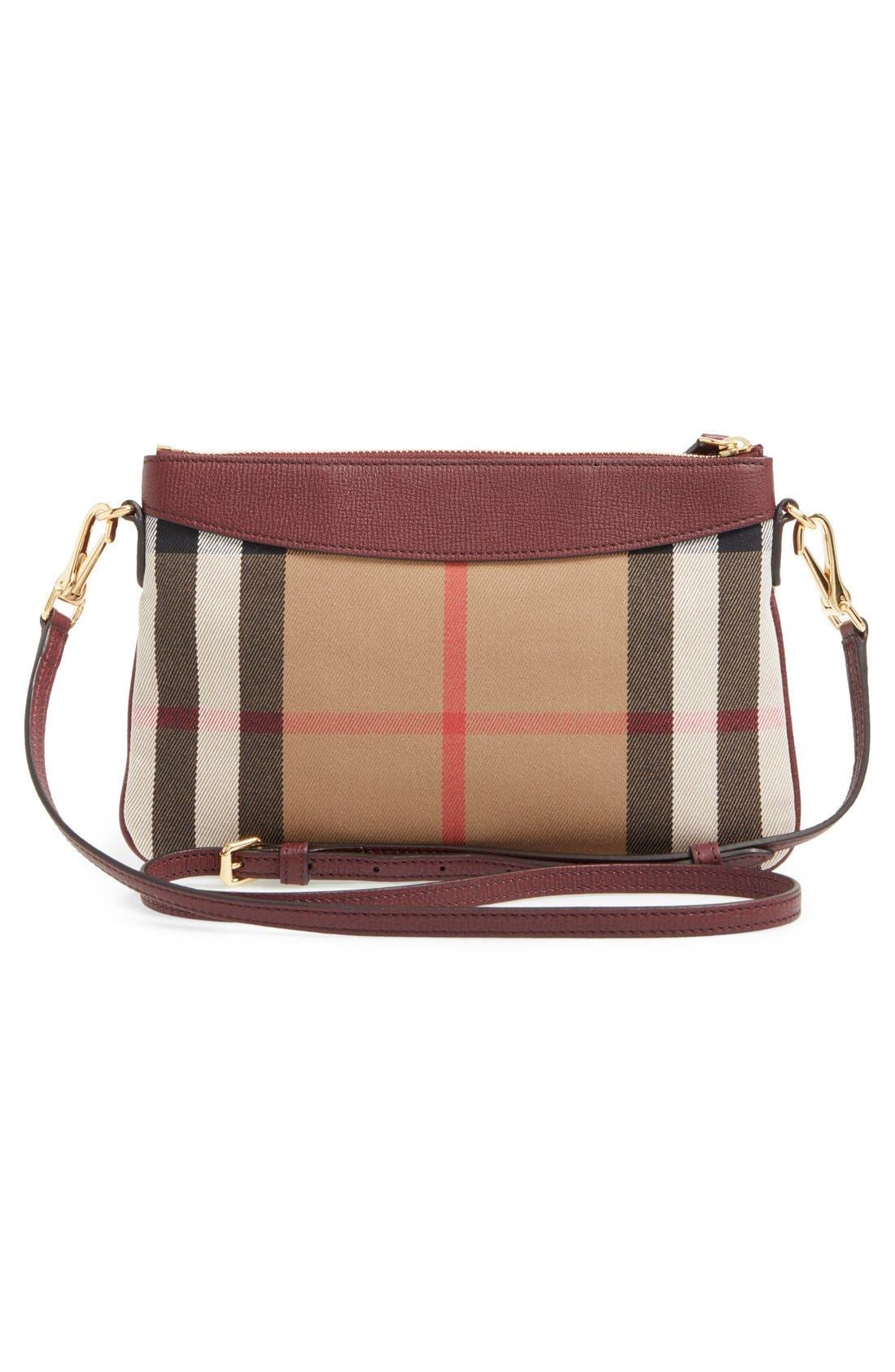 'Peyton - House Check' Crossbody Bag,                             Alternate thumbnail 3, color,                             Mahogany Red