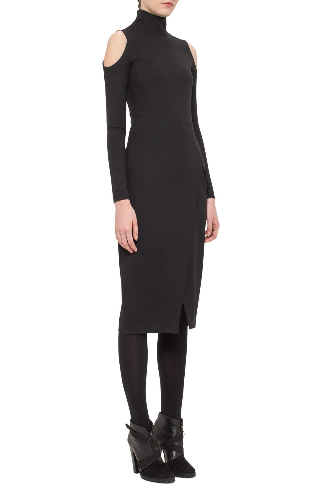 Alternate Image 3  - Akris punto Cold Shoulder Stretch Jersey Sheath Dress
