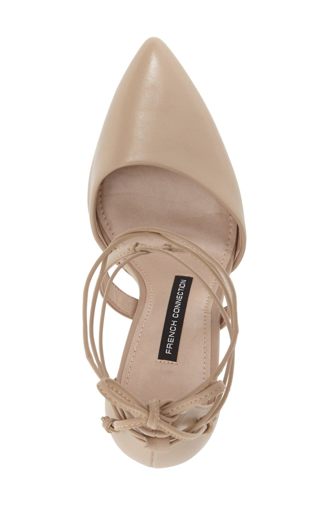 'Elise' d'Orsay Wraparound Lace Pump,                             Alternate thumbnail 3, color,                             Almost Nude Leather