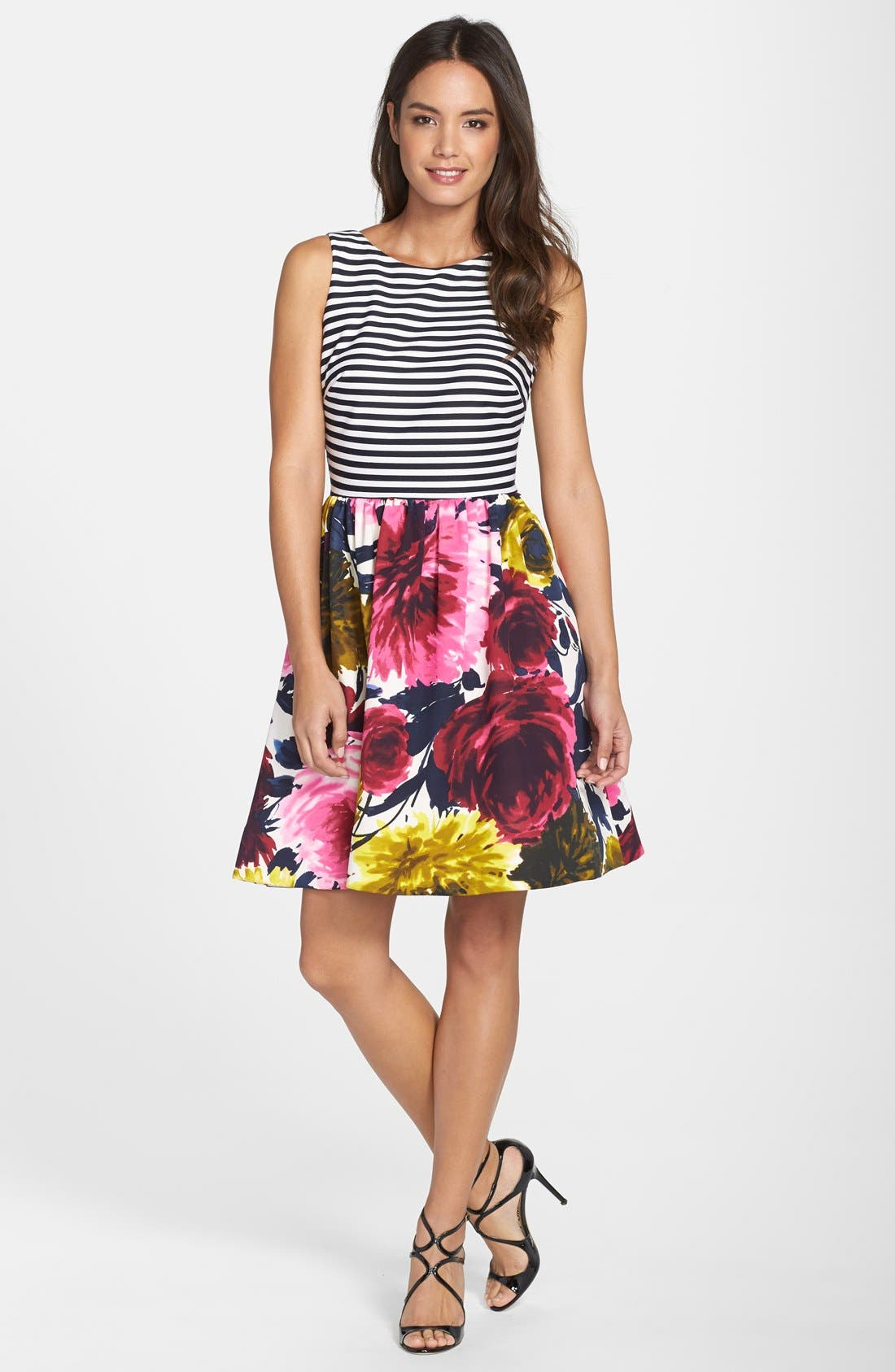Mixed Print Fit & Flare Dress,                             Alternate thumbnail 3, color,                             Navy Multi