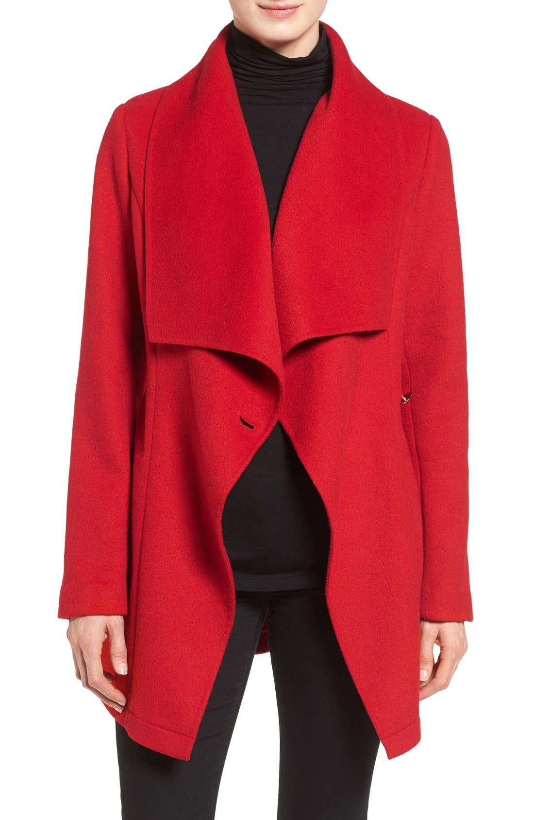 Alternate Image 5  - Laundry by Shelli Segal Double Face Drape Collar Coat
