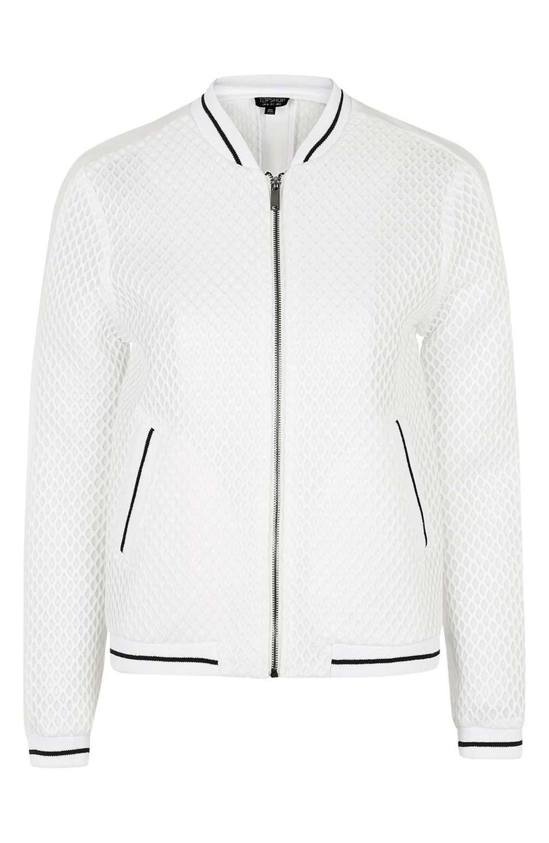 Diamond Airtex Bomber Jacket,                             Alternate thumbnail 4, color,                             Ivory