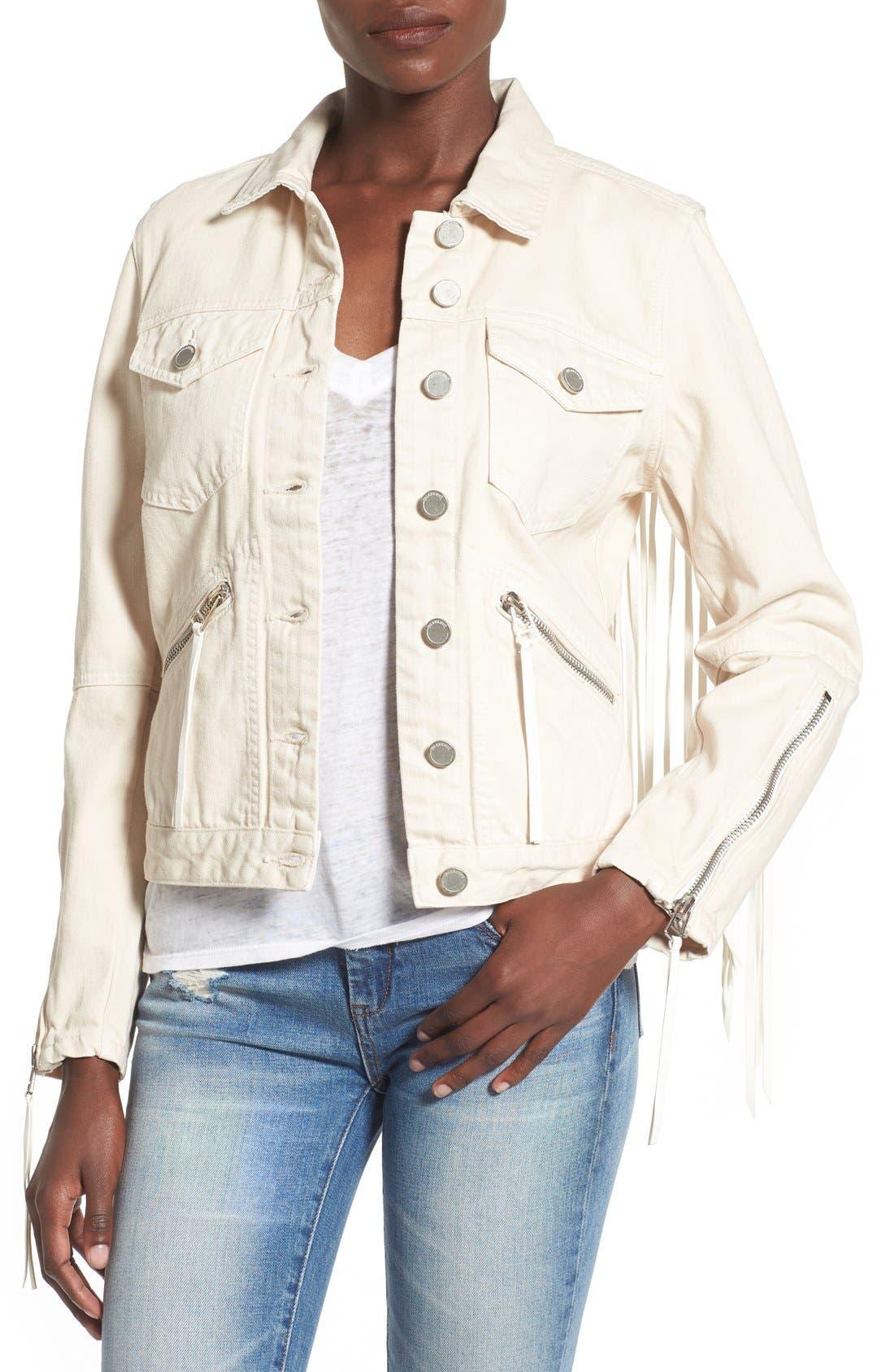Suede Fringe Denim Jacket,                         Main,                         color, Fringe Binge