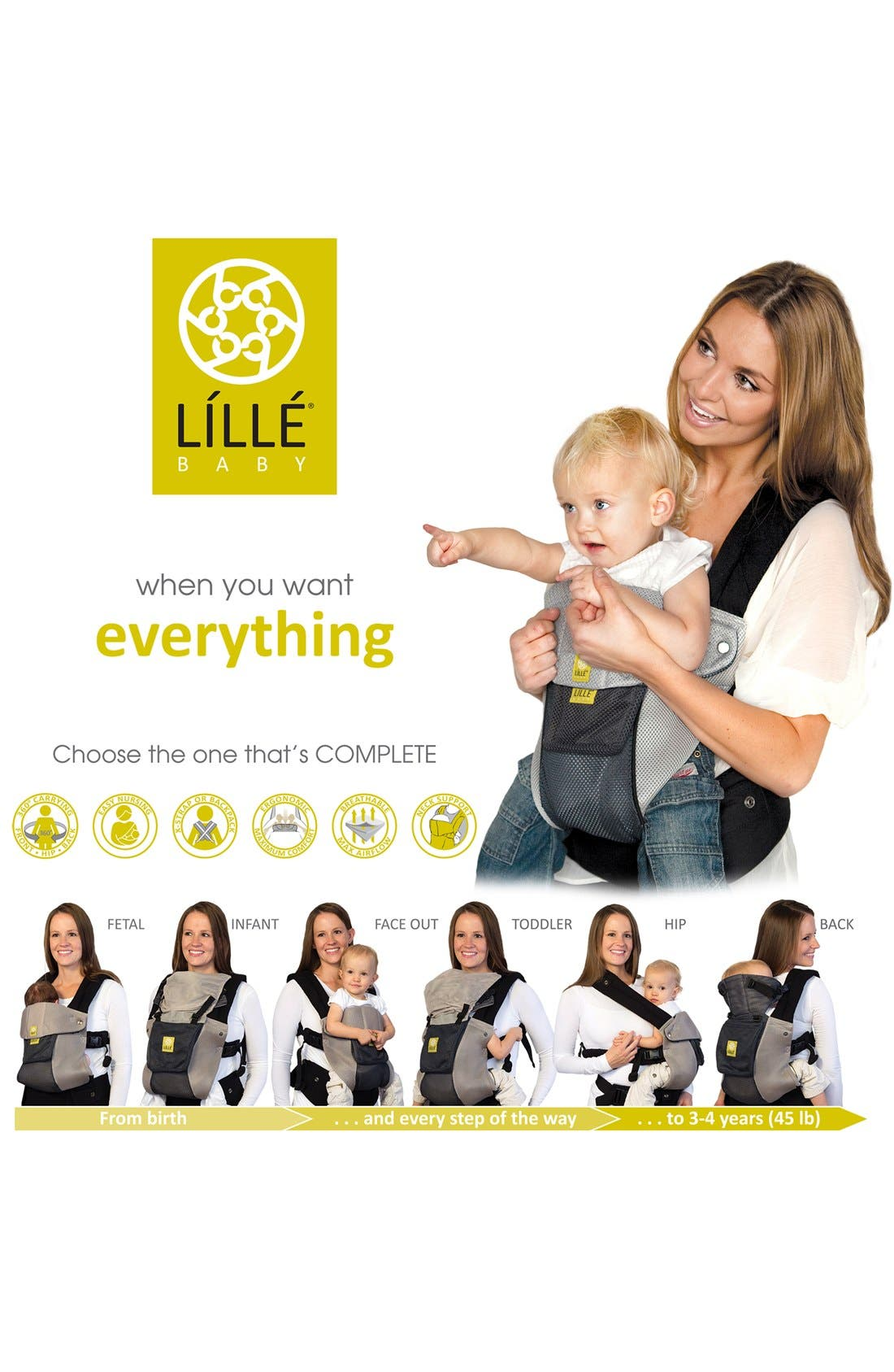 'Airflow' Baby Carrier,                             Alternate thumbnail 5, color,                             Grey/ Silver