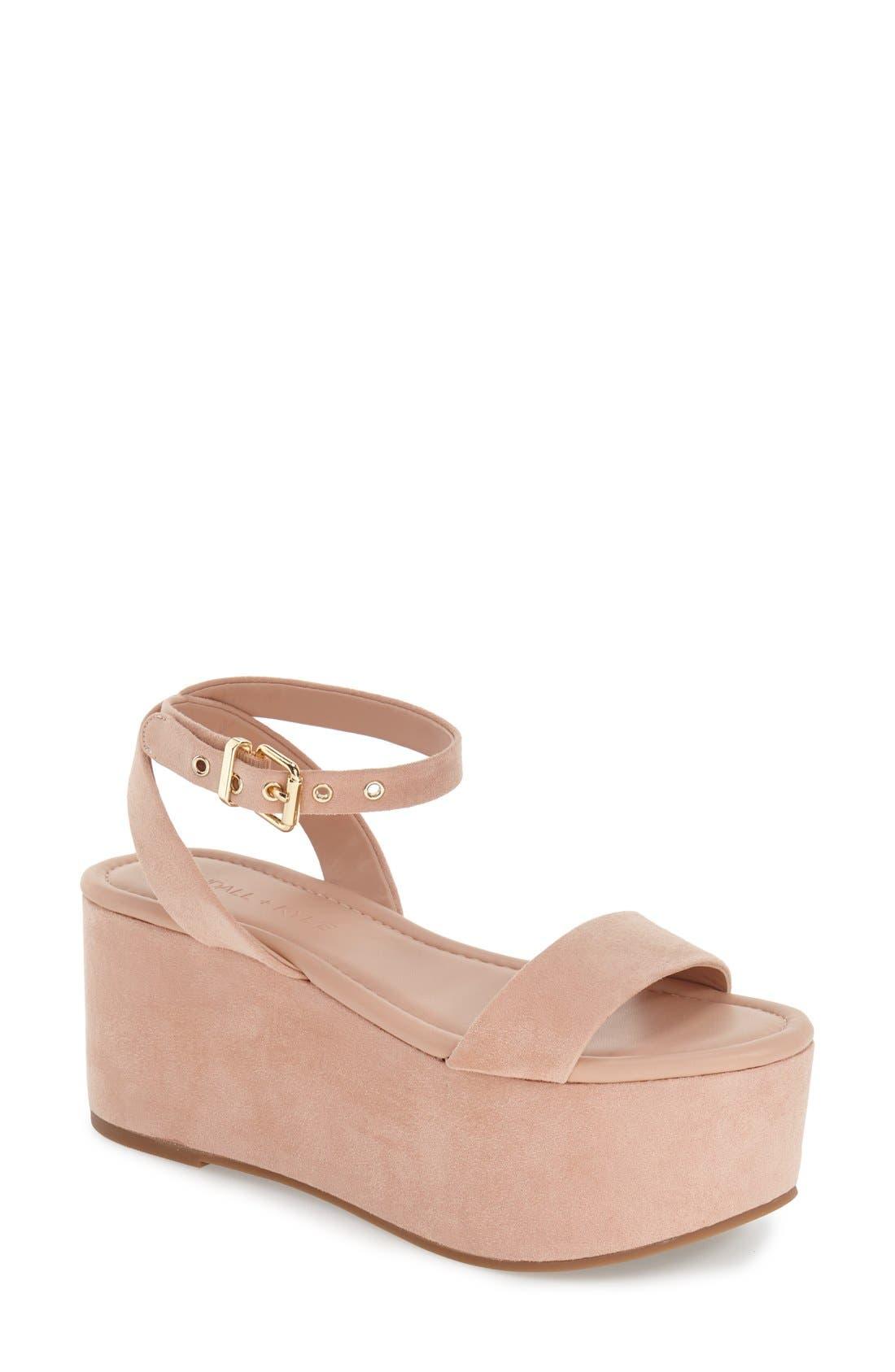 'Demi' Platform Sandal,                             Main thumbnail 1, color,                             Blush Suede