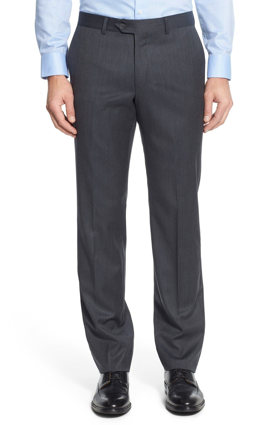 Nordstrom Men's Shop Flat Front Solid Wool Trousers