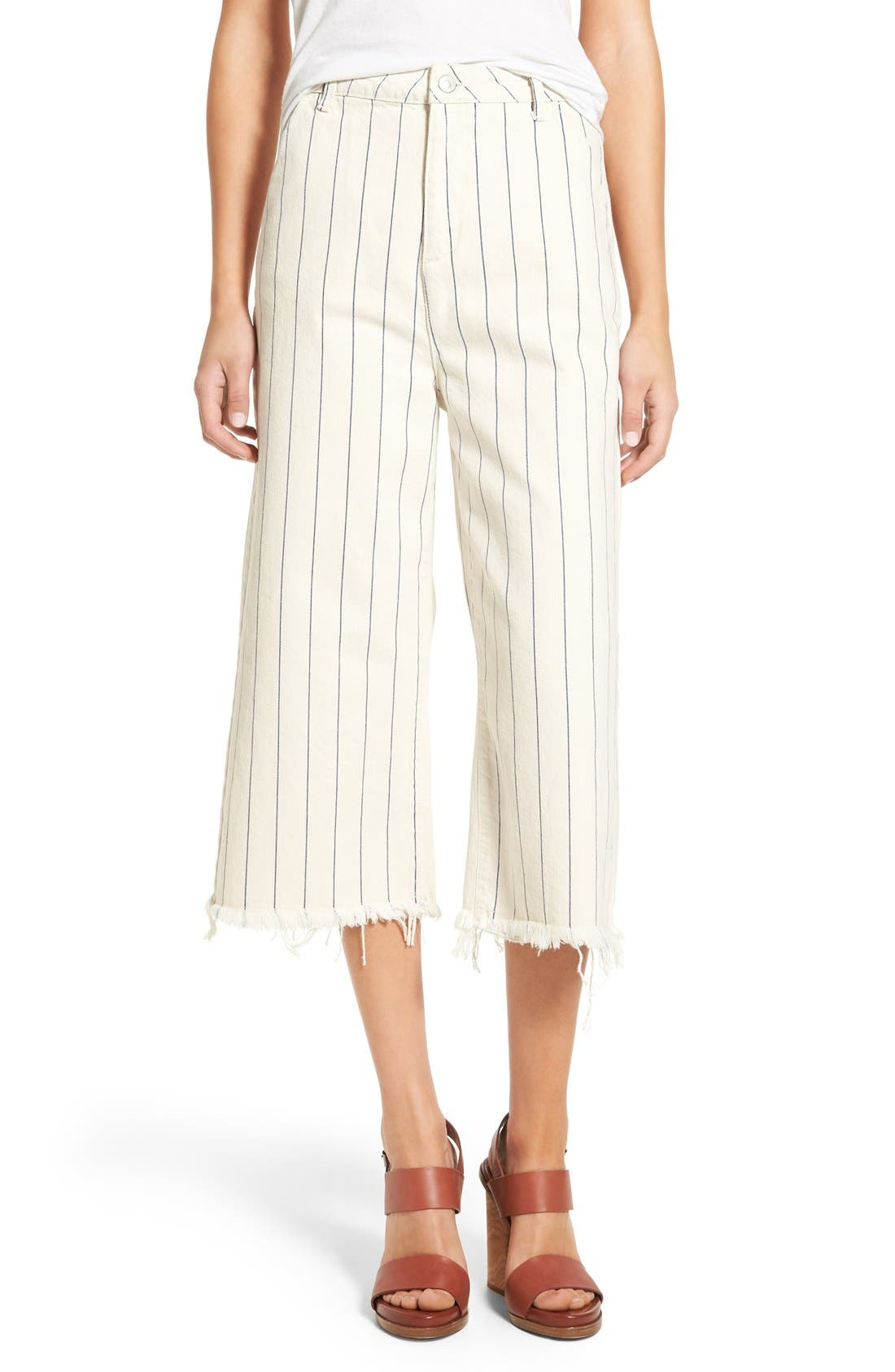 Main Image - Topshop Pinstripe Frayed Culottes