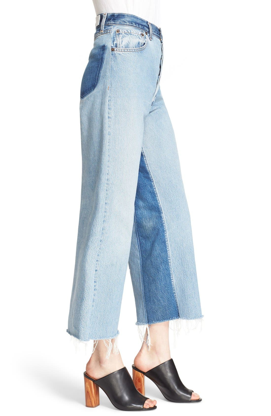 'The High Rise Wide Leg' Reconstructed Jeans,                             Alternate thumbnail 3, color,                             Denim Patch