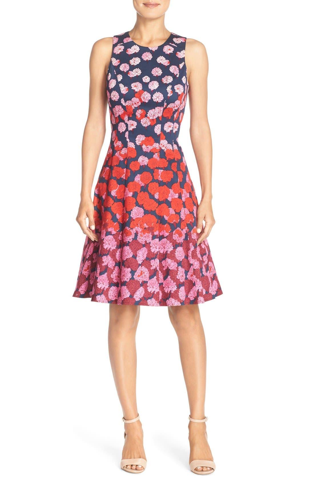 Alternate Image 4  - Maggy London Floral Print Fit & Flare Dress (Regular & Petite)