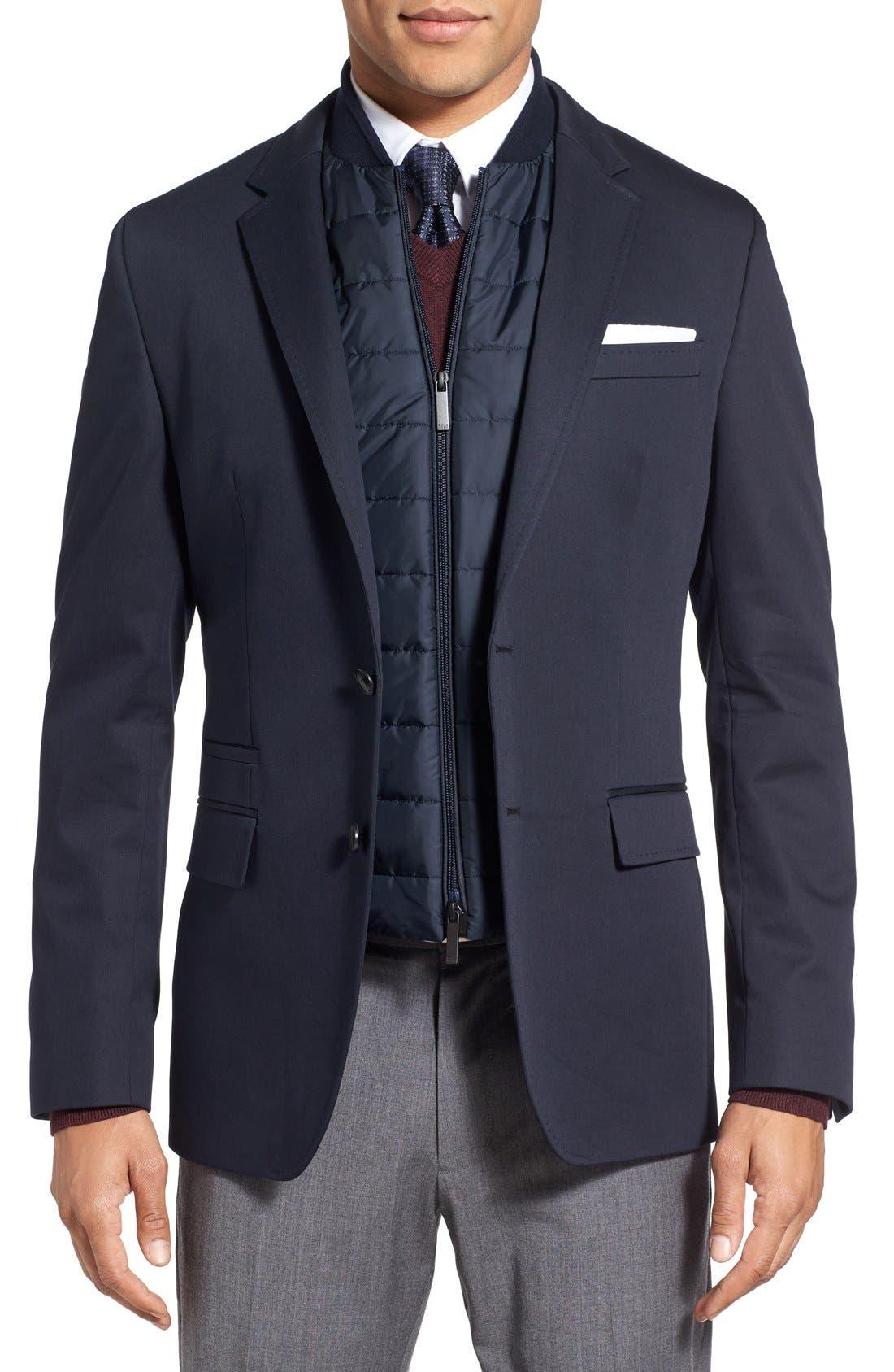 Main Image - BOSS 'Hadwart' Trim Fit Cotton Blend Blazer