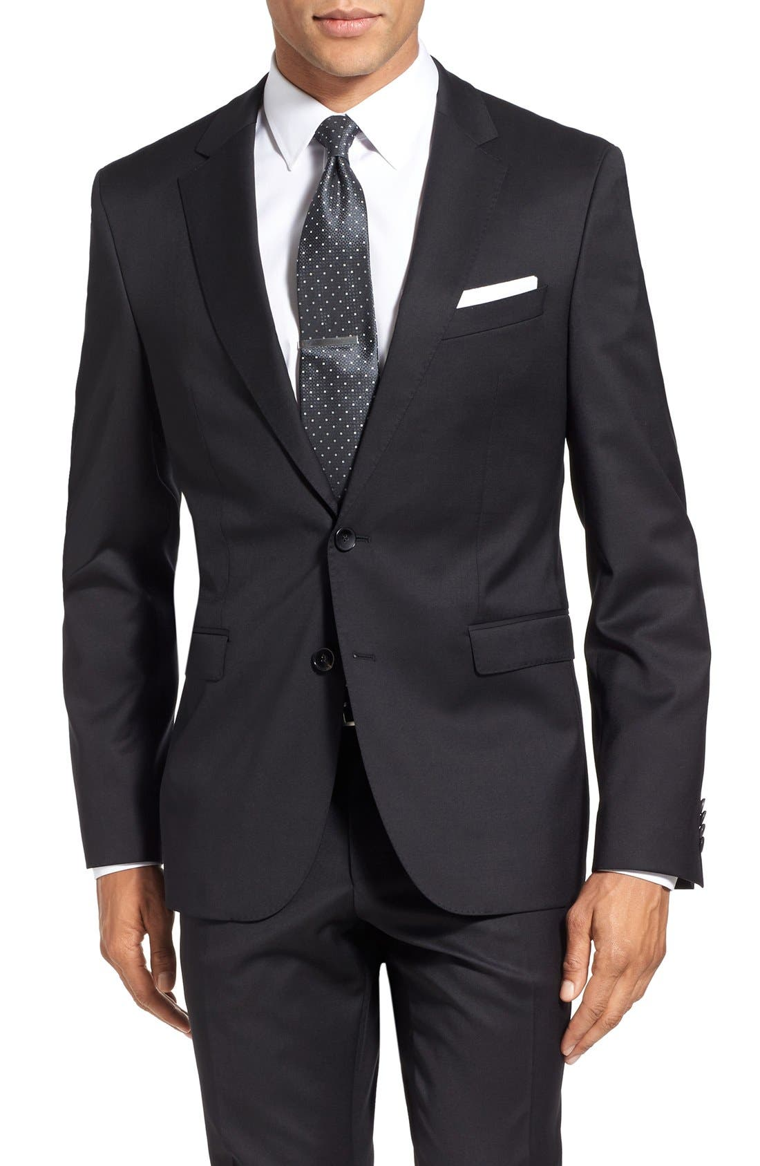 Ryan/Win Extra Trim Fit Solid Wool Suit,                             Alternate thumbnail 5, color,                             Black