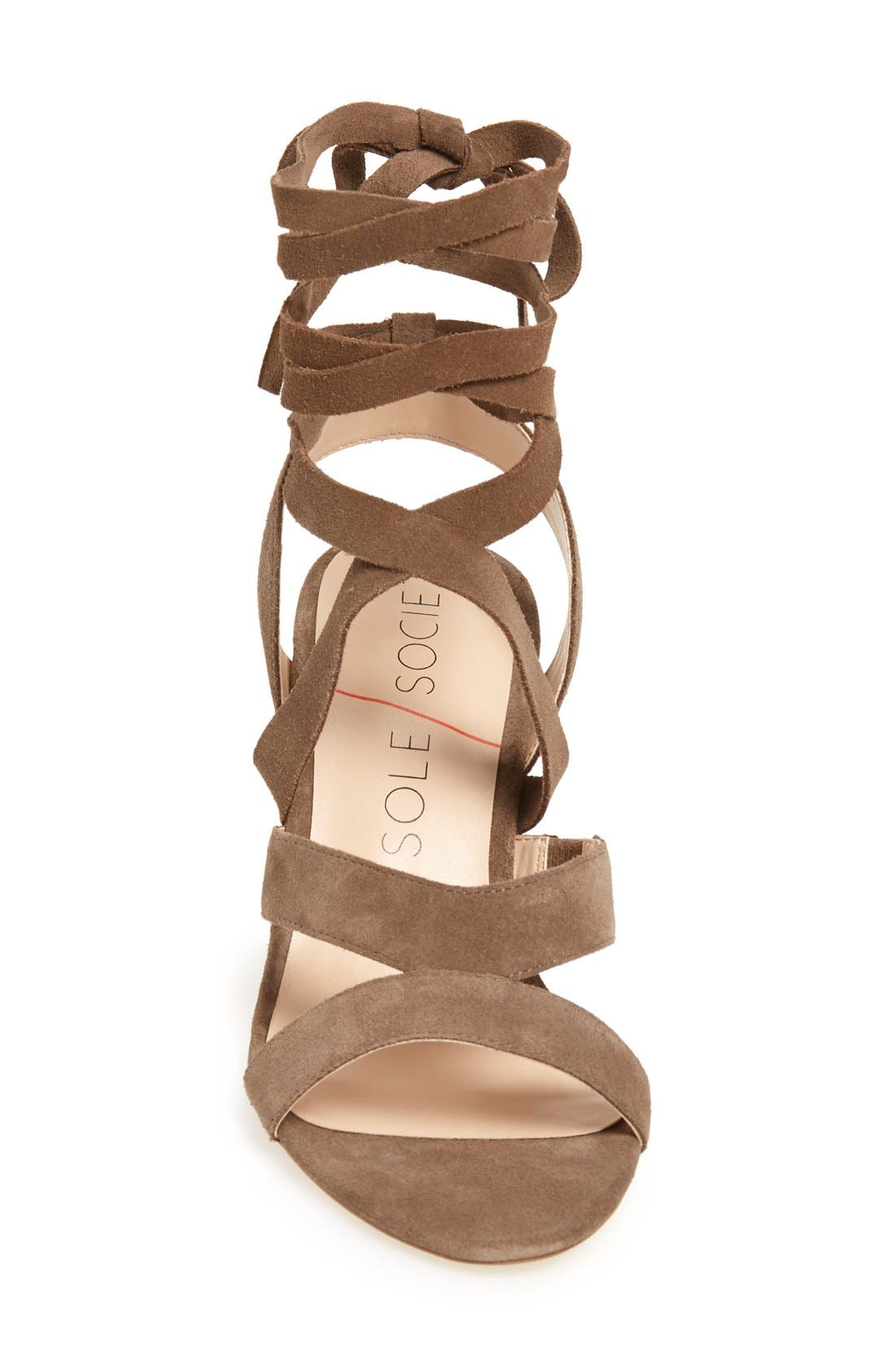'Lyla' Lace-Up Sandal,                             Alternate thumbnail 3, color,                             Taupe