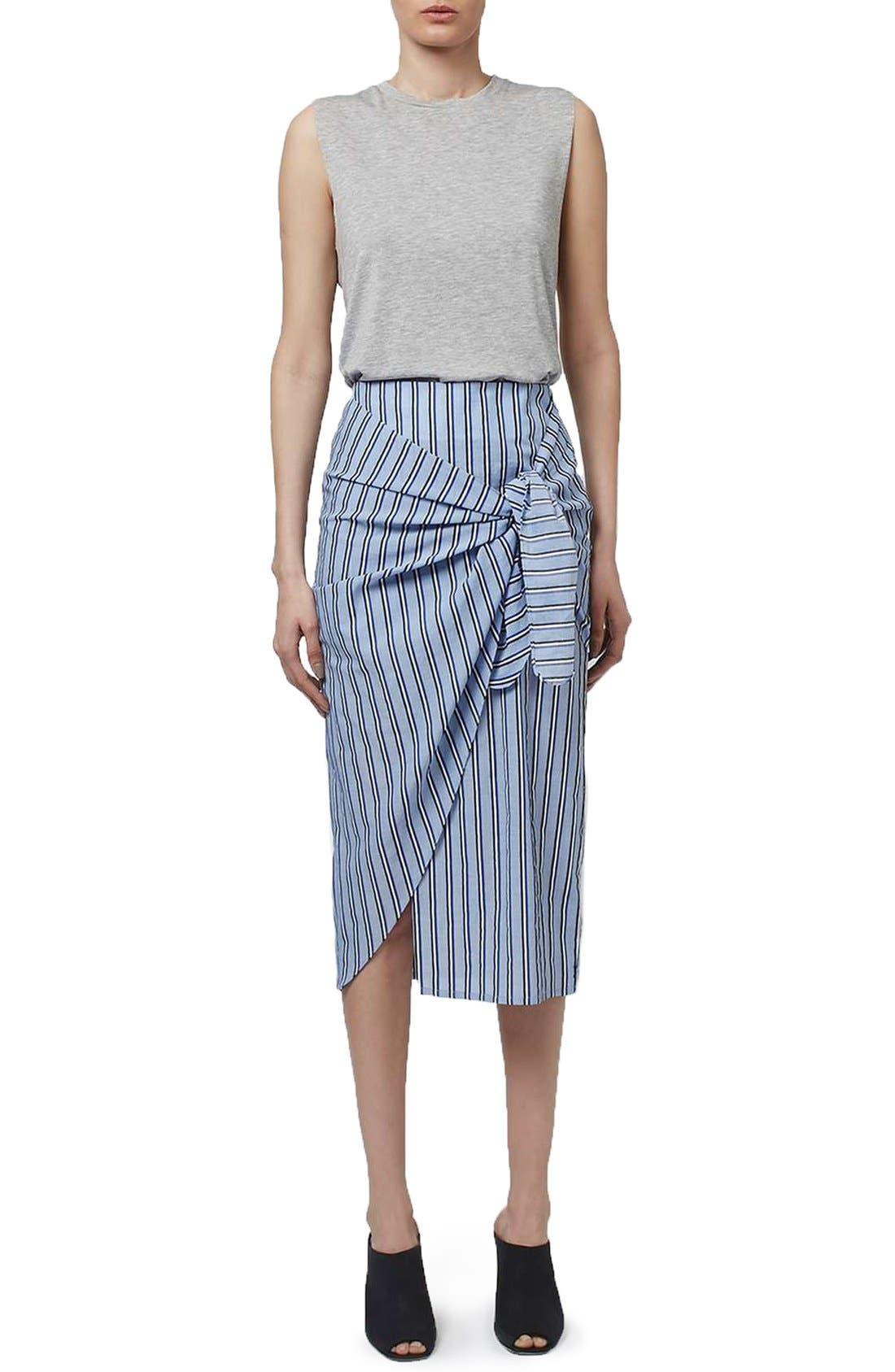 Alternate Image 2  - Topshop Boutique Stripe Faux Wrap Skirt