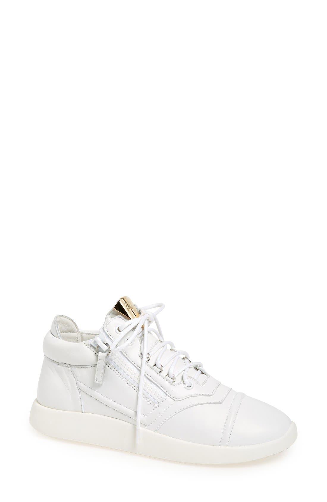 Alternate Image 1 Selected - Giuseppe Zanotti Side Zip Low Top Sneaker (Women)