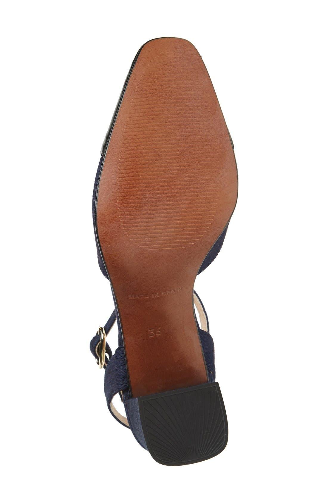 'Jewel' Cap Toe Block Heel Pump,                             Alternate thumbnail 4, color,                             Navy Blue Multi