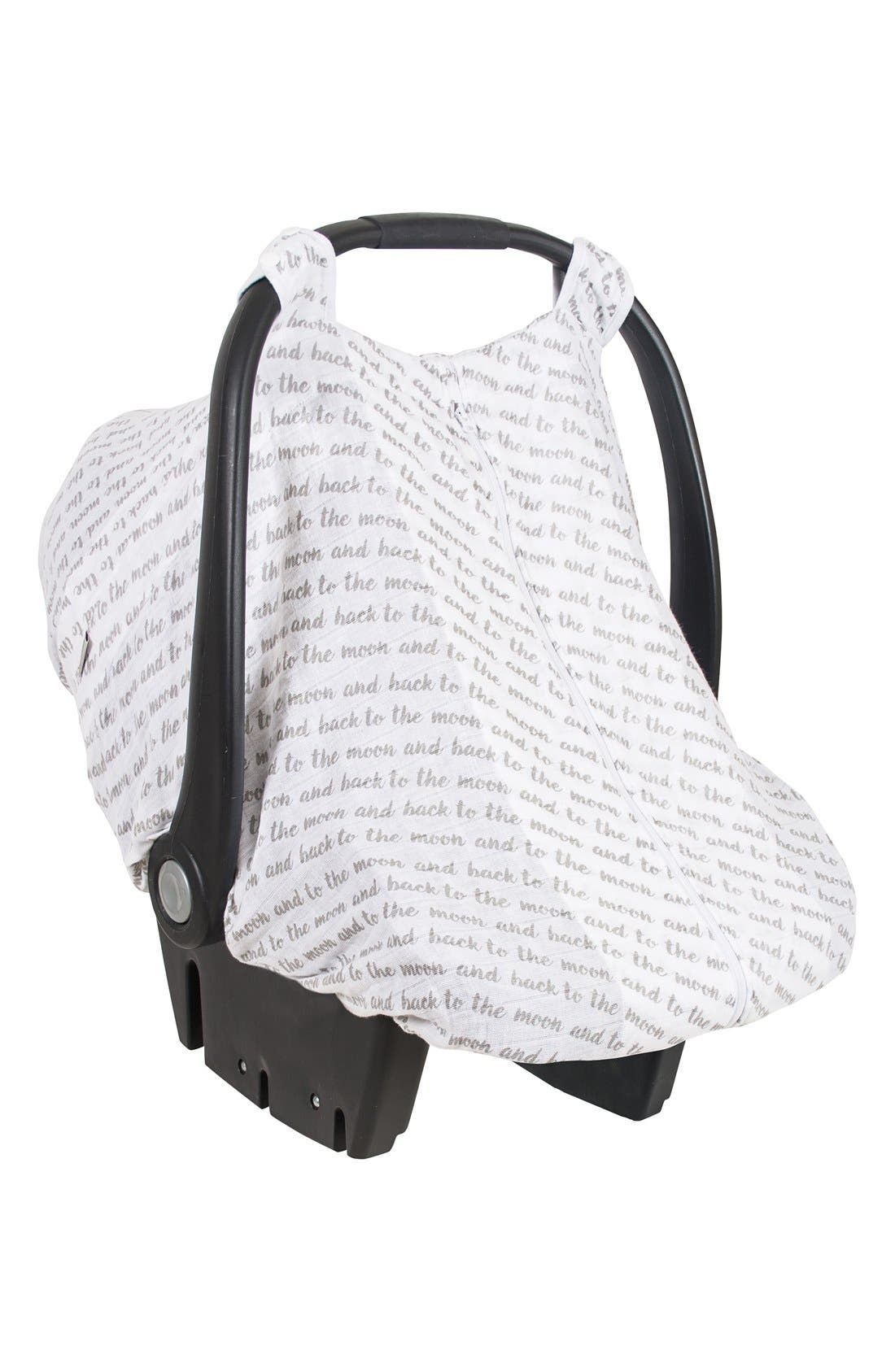 'Love' Muslin Car Seat Cover,                         Main,                         color, White/ Grey