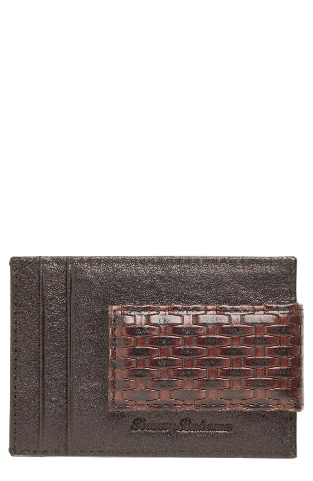 Money Clip Card Case,                         Main,                         color, Brown