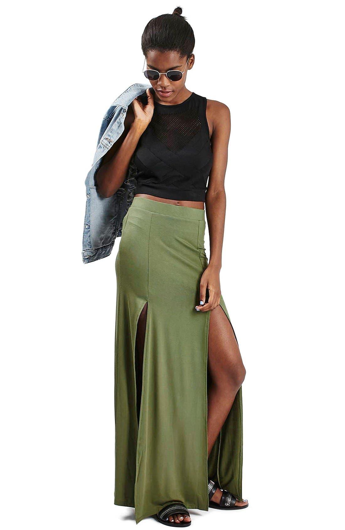 Alternate Image 2  - Topshop Double Slit Maxi Skirt