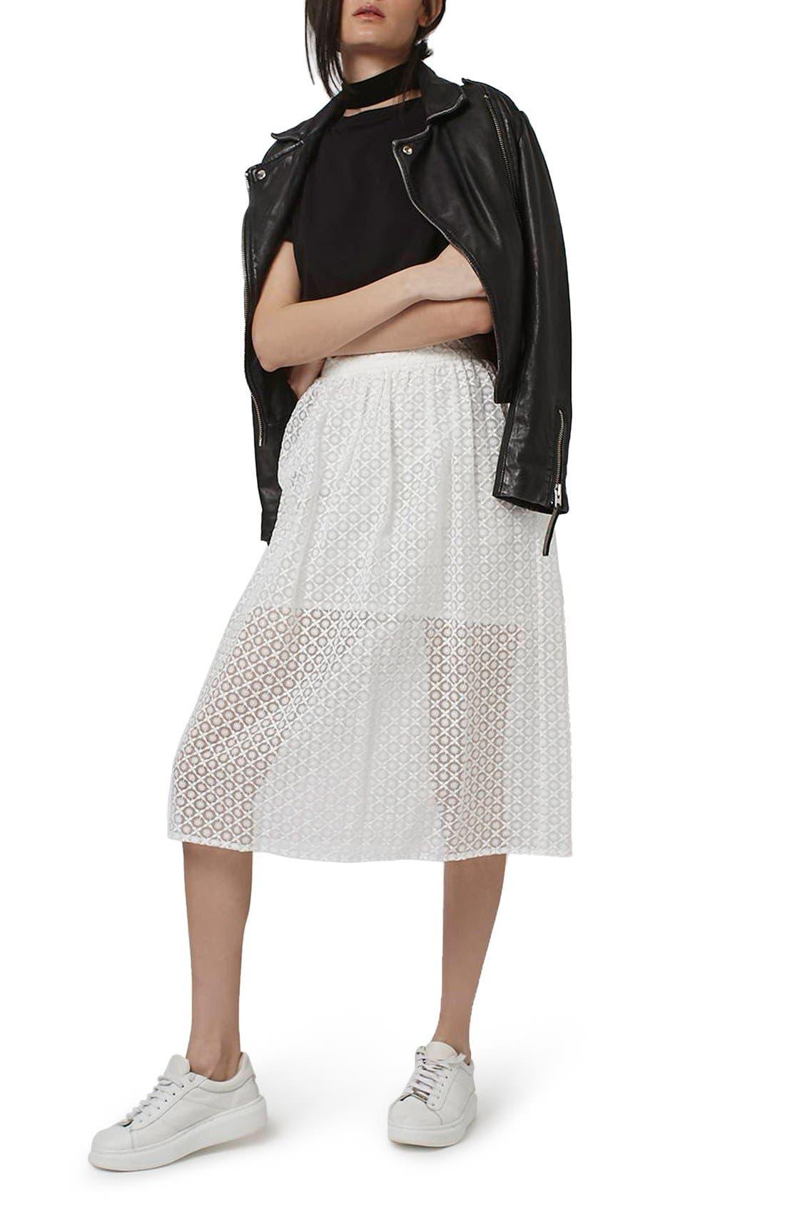 Alternate Image 2  - Topshop Floral Embroidered Organza Midi Skirt