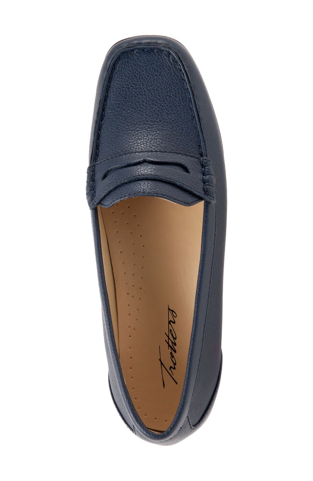 'Staci' Penny Loafer,                             Alternate thumbnail 3, color,                             Navy Leather