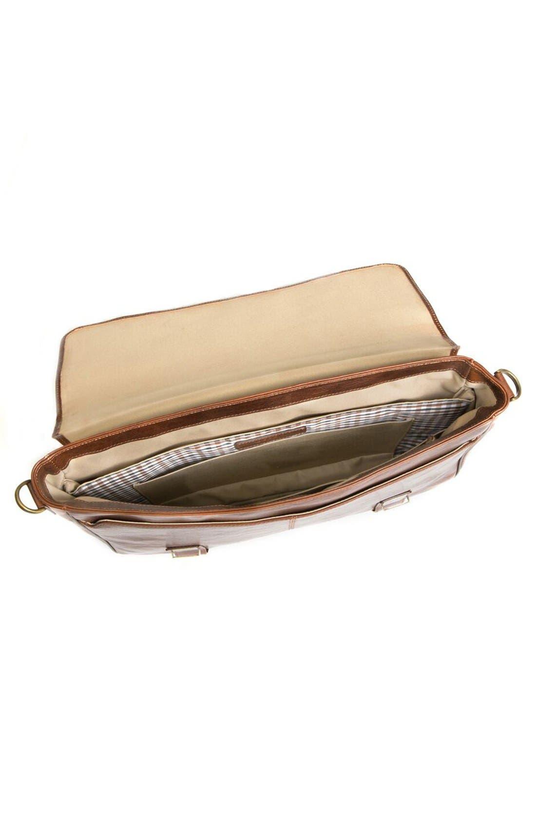 'Becker' Leather Messenger Bag,                             Alternate thumbnail 3, color,                             Whiskey W/ Khaki